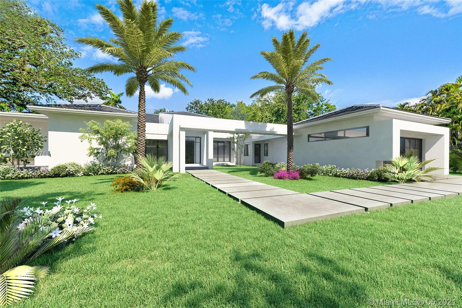 This spectacular modern estate built by Crawford Development offers a grand North Pinecrest location & situated on an expansive corner lot covered w/ green grounds & beautiful oaks and foliage. This gorgeous 5,500 sq ft custom design offers an open floorpan which wraps around a reflecting pool for a zen like feel throughout. Chef's kitchen designed by Italkraft & w/ Thermador Appliances, Island, Wine Cooler & Pantry. Cabana with outdoor kitchen & full bath perfect for entertaining. Oversized master overlooking reflecting pool, sitting area & Walk-In Closet. Unique design features channeling midcentury modern influences throughout. Other features include 2 car garage w/ space to add lift for additional parking, generator ready, two entrances on each side of lot a& A+ schools.
