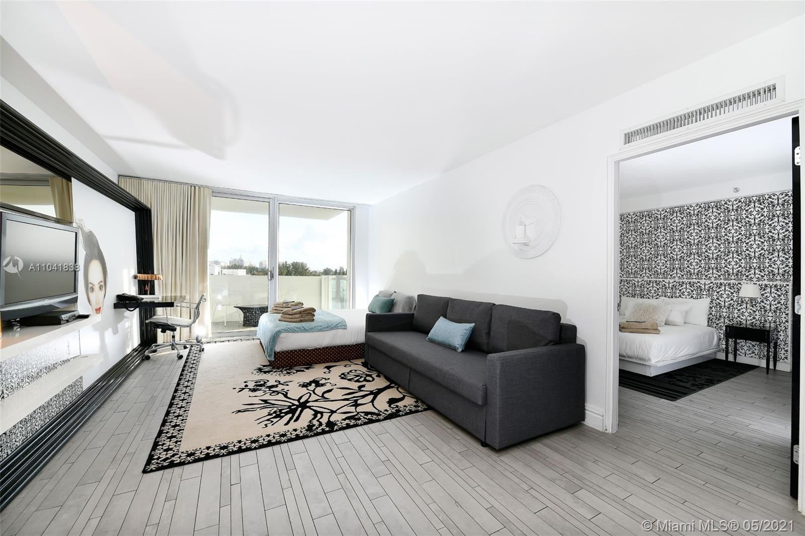 Stunning corner unit with spectacular views of Miami Skyline, just minutes away from Downtown Miami, The Design District ,Wynwood, the beach and shopping areas. Unit NOT in the hotel program, owner using a third party management team, with a very attractive return on investment. Future owners can use the unit as an investment property or for personal use. Assessments have been paid by the current sellers! The building underwent $20M renovation creating a tropical modern environment and comprising a contemporary Mediterranean restaurant and two Sunset bars with multiple spaces for entertainment, offering magnificent views of the Biscayne Bay estuary and the Downtown Miami. The unit comes fully furnished and among very few units that have a balcony! All offers considered!