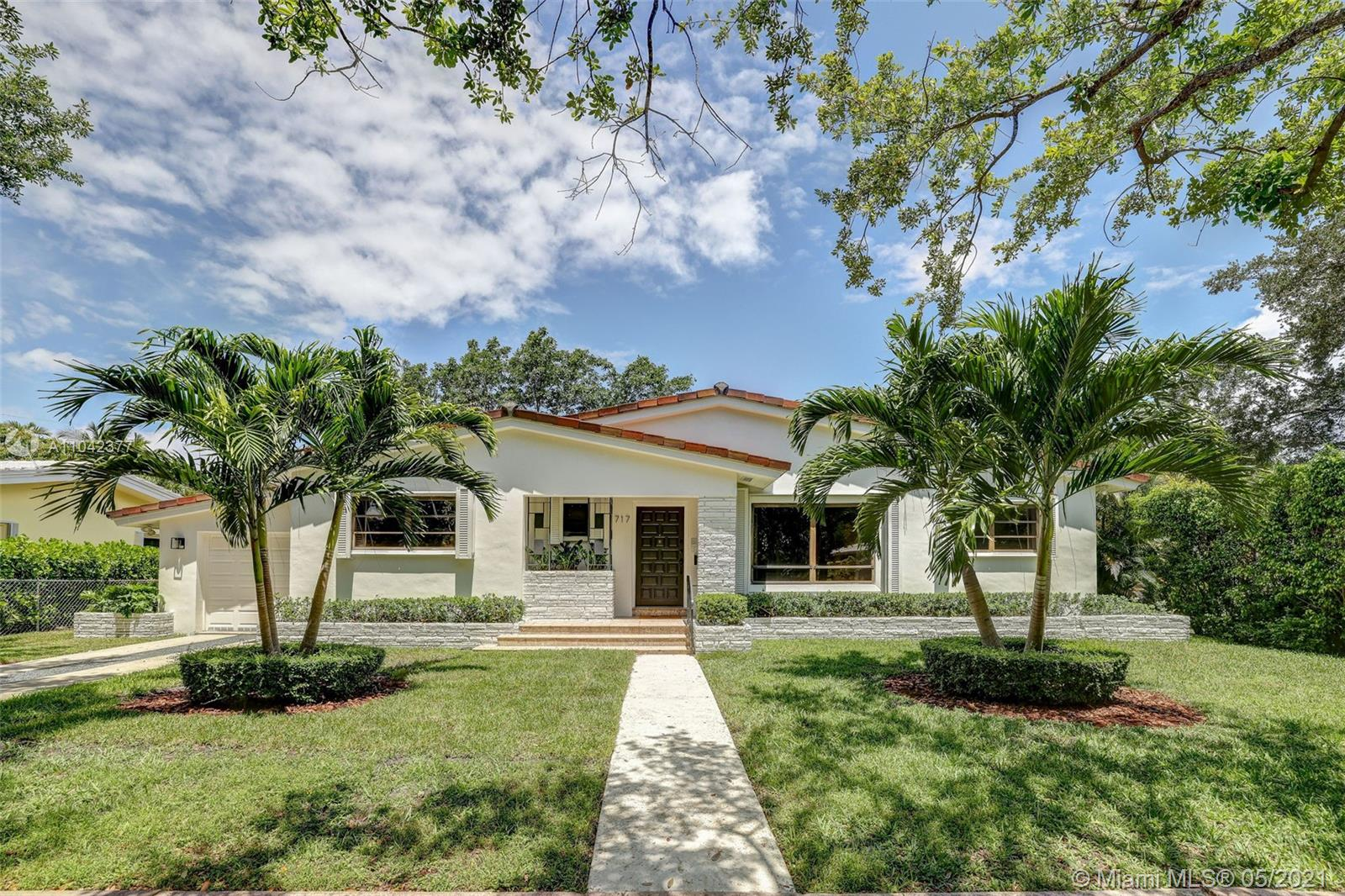 A perfect family home on a quiet tree-lined street in Coral Gables. 4 large bedrooms, 3 full baths, split floor plan, a 1 car garage, and a super-sized completely remodeled chef's kitchen! Sistina Avenue is one of the loveliest and least trafficked streets in Coral Gables. Location is key here as you will be living less than 15 minutes to the best schools, restaurants, shopping, airport, Downtown/Brickell, and University of Miami.