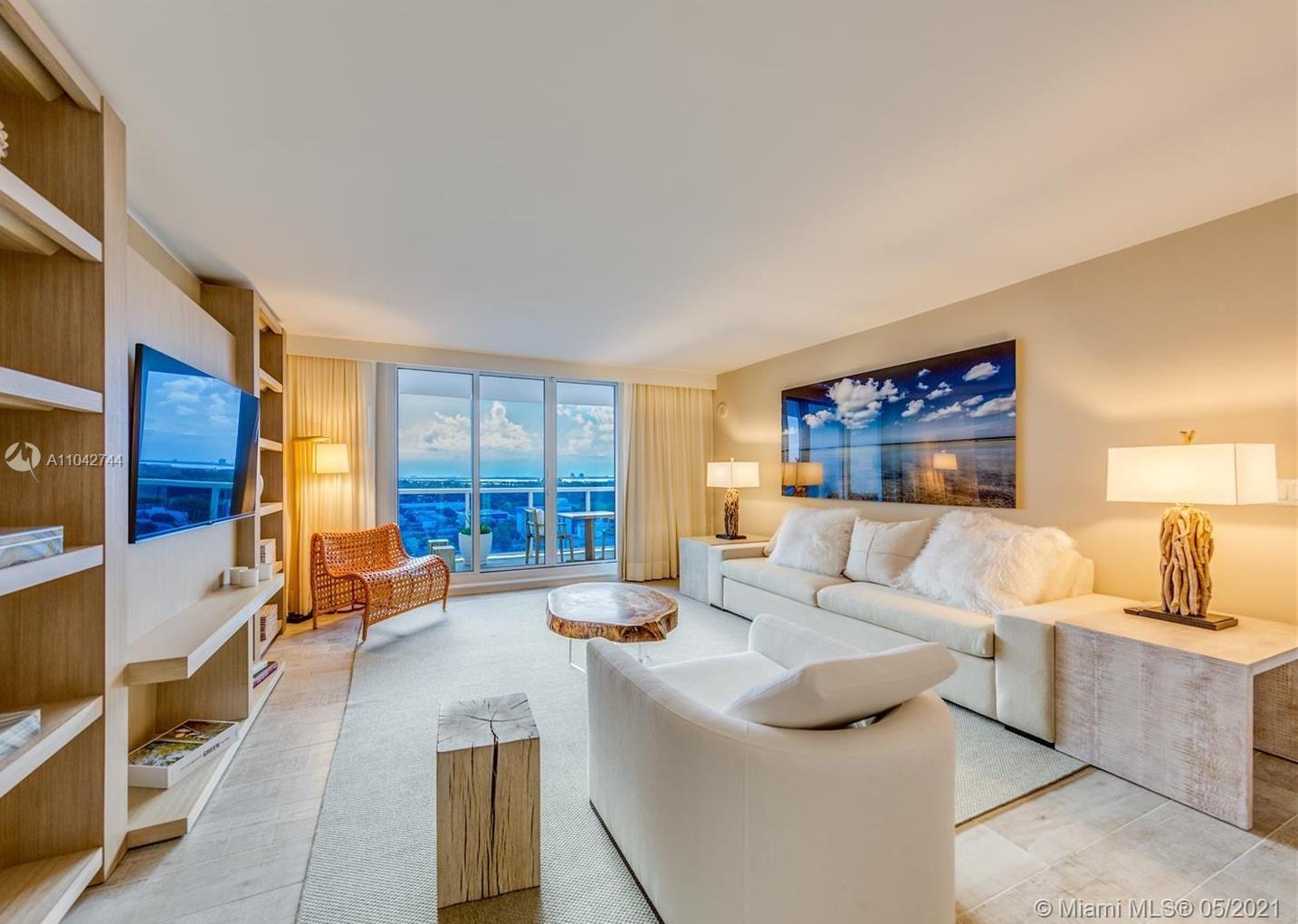 This highly sought after 889 Sq. Ft. condo offers the best of both worlds. Located at the coveted 1 Hotel & Homes South Beach you will enjoy a variety of white glove services at this beach front paradise. After a long day on the beach or relaxing the pool, wind down on your fully furnished private balcony with views of the spectacular Miami skyline...a truly breathtaking experience. Condo comes fully furnished with the custom 1 Hotel furniture package designed by acclaimed decorator Debra Aguiar.  Amenities in the building include a fully staffed residence lobby, valet attendants, personal concierge, and chauffeured Tesla SUV's. Eco-conscious amenities to include 4 pools, 4 restaurants, 3 bars, 14,000 Sq. Ft. gym, Bamford Spa, hair salon, Soul Cycle and much more.