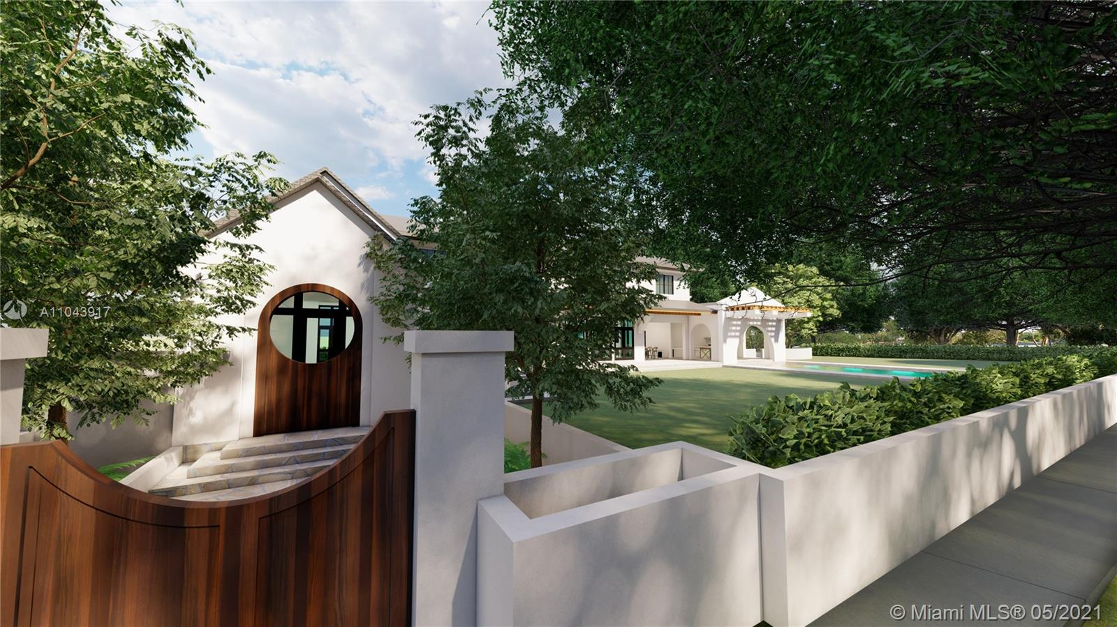 Rare opportunity to build a new construction home on an idyllic 25,000 SF lot in a quiet, tree-canopied South Gables neighborhood. The existing home has 3 BR / 2 BA + a separate 1 BR / 1 BA in-law's quarters with private entrance. (Potential to rent the home during the permitting process).  Mature oaks, black olive, palms, lychee, avocado, sapodilla, carambola, mango, frangipani and other trees surround the perimeter of this lush, park-like property. Complete set of architectural plans by world renowned architect, Jorge L. Hernandez are available. Close to Miami's most prestigious schools and to shopping & dining in downtown Coral Gables, South Miami and Coconut Grove.