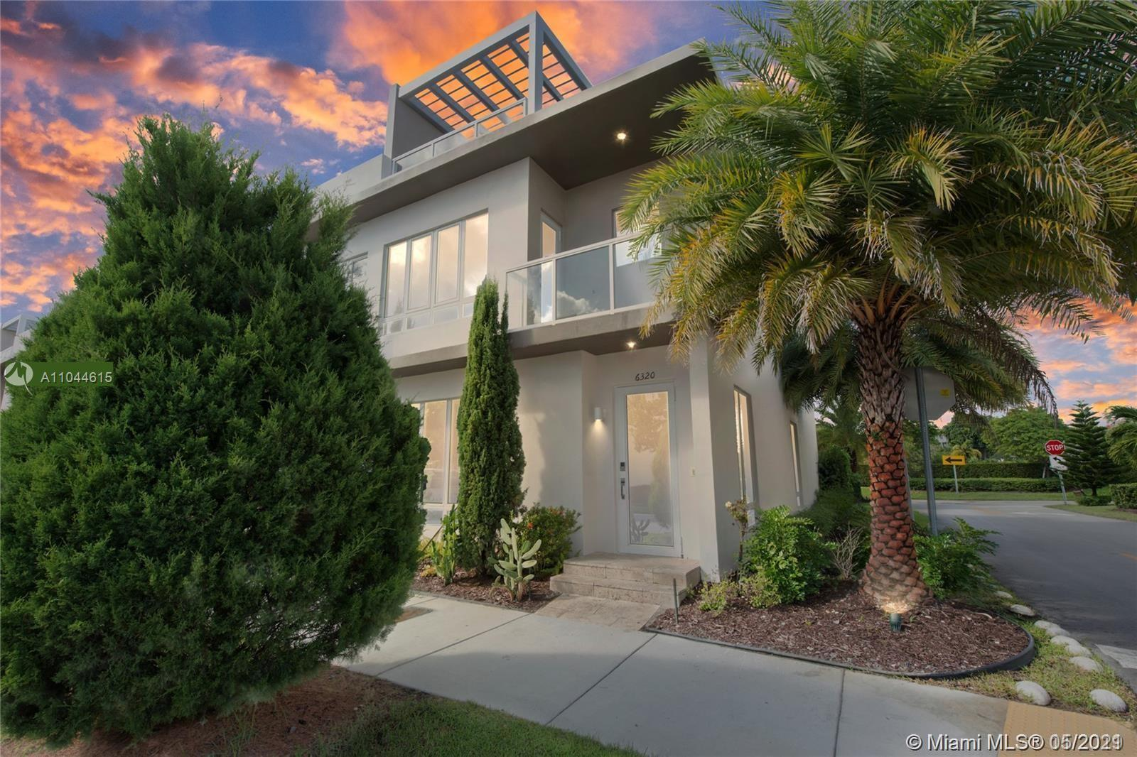 """PLEASE READ --- HOUSE WITH ROOFTOP TERRACE and NEXT-GEN property. Biggest LOT in the condo. Beautiful home in the best community of Doral - """"Landmark"""". Main house with 3 spacious bedrooms & 3.5 modern bathrooms. External efficiency with independent entrance with 1-bedroom area + bathroom + kitchenette + washer/Dryer combo. High end appliances and quartz countertops in kitchen and baths. House is rented until Feb 2022 for $3400 and studio for $1350. Plenty of upside to rent the house for up to +$4,000 just the main house plus next-gen income. Great income producing property. Lowest HOA in the area - only $265. Send offer before looking at the house. House has new blinds not shown on the pictures. Owner ready to sell."""