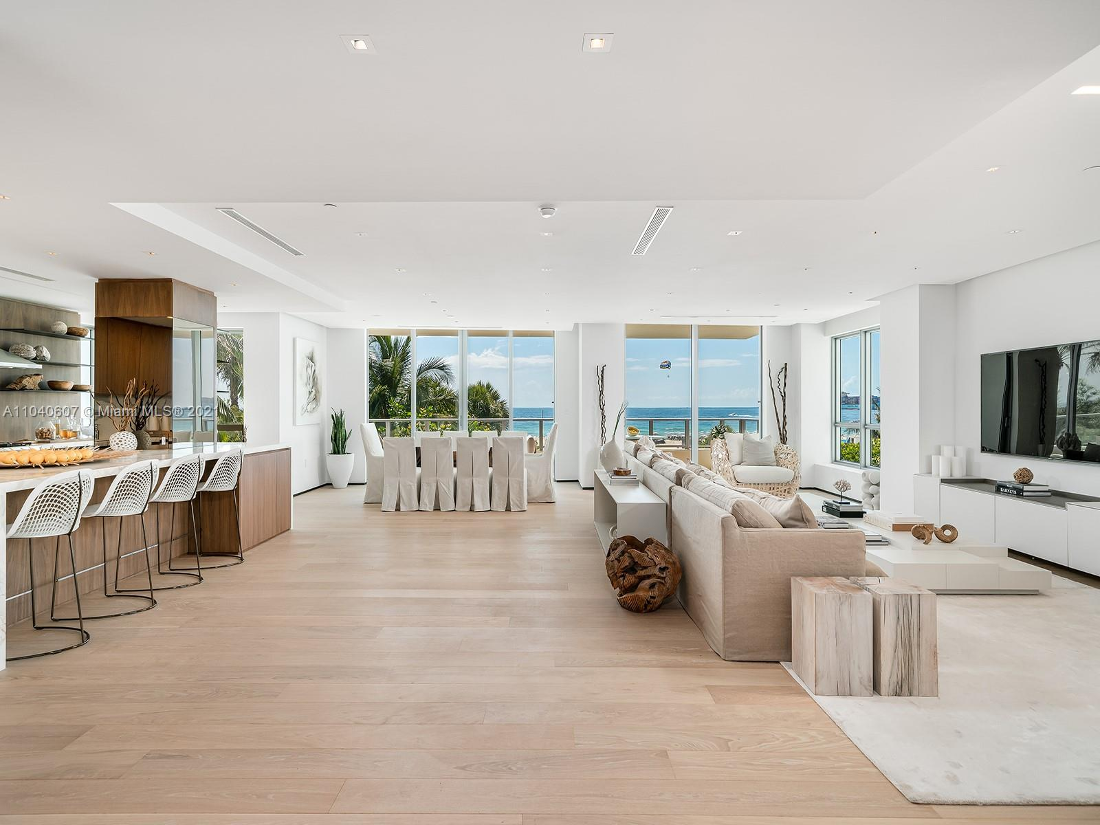 This exquisite residence at Ocean House, an ultra-high-end boutique address in Miami Beach's coveted South-of-Fifth enclave, offers privacy, luxury, and spectacular ocean views. Recently renovated, the sprawling 4,068 square foot, four-bed, and four-and-a-half-bath home includes a luxurious master suite with a dressing room and spa-like bathroom. No detail has been overlooked, including the private elevator entry, large balconies, massive great room, Crestron smart home system, and the option to be delivered turnkey and fully furnished by Artefacto. Enjoy an extensive roster of amenities, including stunning common areas designed by Antrobus + Ramirez, screening and billiards rooms, a state-of-the-art fitness center, poolside cabanas, a serviced beach, and a private hair salon.