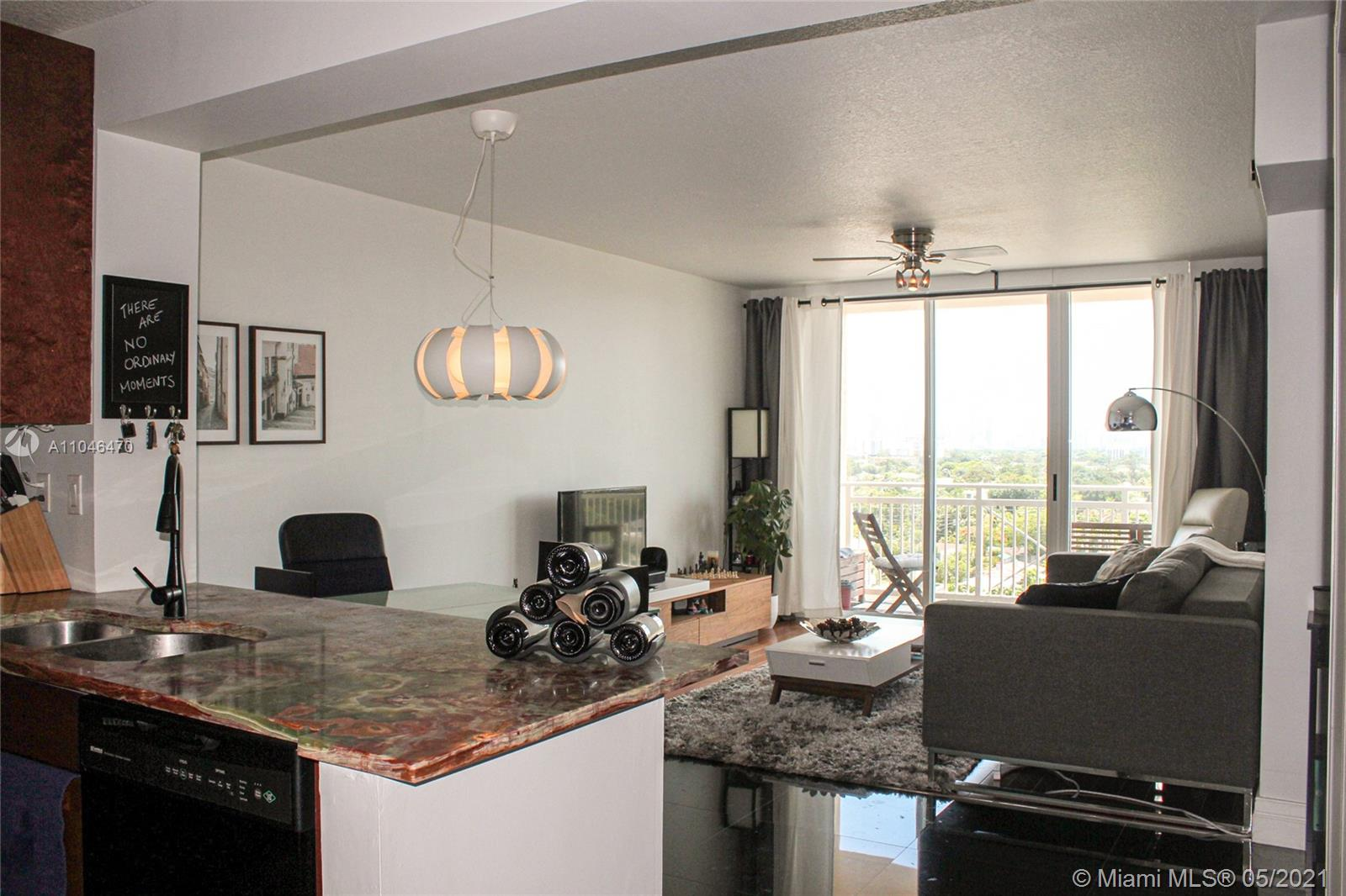 Tastefully remodeled unit at the DaVinci on Douglas condo with marble floors in the kitchen & bathroom, whilst the hard-wood floor complements the living room & bedroom. The kitchen has updated elements & a marble countertop. Living room & bedroom have blackout shades/curtains to help block out the Miami sun. A new A/C & water heater installed in March '20. The unit is on the 9th floor, overlooking the quiet streets, the pool, Douglas park and the breath-taking skyline of Brickell. The unit comes with 2 covered parking spots & a storage unit - a rarity for a one-bedroom unit! The building has a gym with sauna, a pool, biz & party room, 24h security & management on site. Located within walking distance from Miracle Mile in Coral Gables, short drive to MIA, UM, Merrick Park & Brickell.