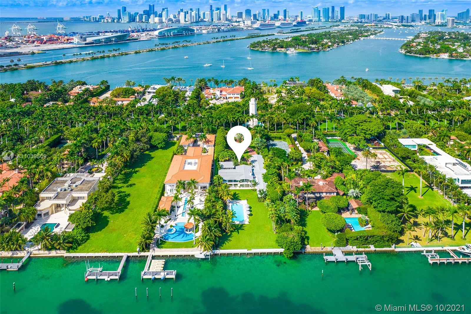 Located on exclusive, guard-gated Star Island, this fully re-imaged and rebuilt Miami Modern house by Todd Michael Glazer occupies an impressive 40,000 sf lot with dockage to accommodate up to 90' yacht only minutes from Miami Beach Marina and open water to the ocean. This 9 BR/9 +1 BA includes separate guest house with kitchen and spacious second floor master suite with balcony overlooking the huge outdoor entertainment space.  Lushly landscaped grounds feature tropical foliage, large resort size pool and automatic gate for privacy and security.  This estate is truly a one of a kind location with access to endless restaurants and shopping of South Beach, Brickell and the new Design District. Additional 2000 sf added in the new renovation for adjusted 9945 sf as per owner.