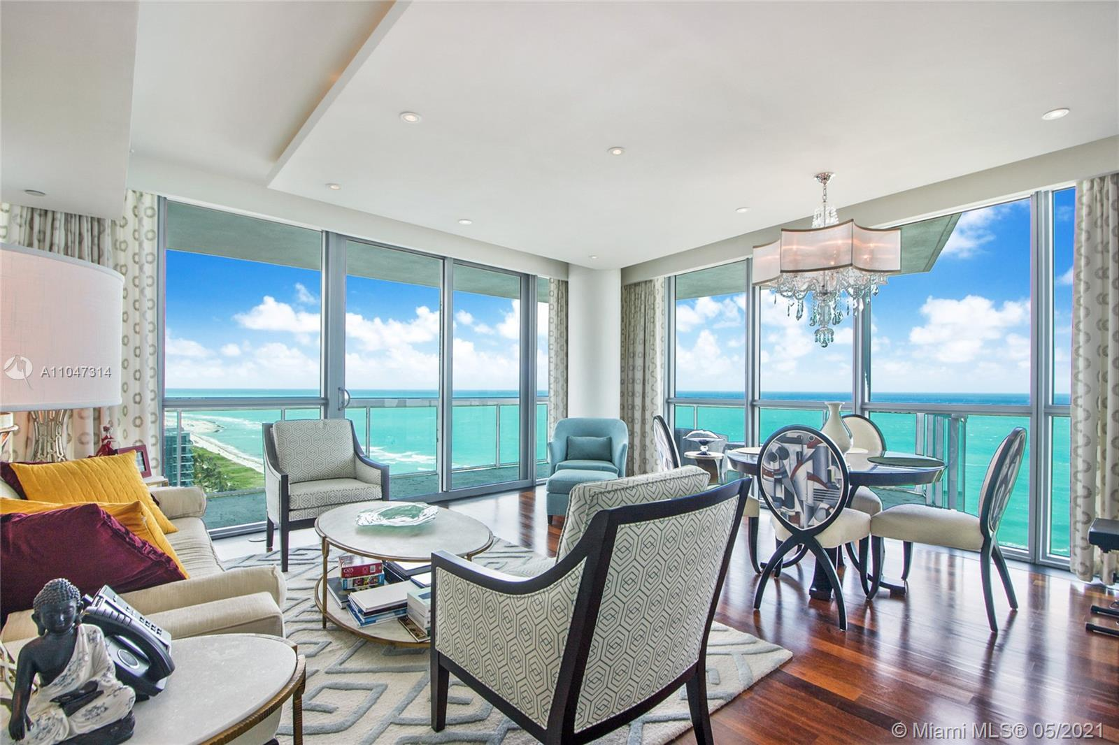 Corner oceanfront 2 bed 2 Bath at 5 Star Setai South Beach. This special unit in Setai has incredible views from every room in the apartment.  Additionally, the unit as an expansive balcony with views of the ocean and the intercoastal going north.  This property is high enough that it is taller than the W giving you spectacular views in every direction.  The Setai is the only 5-Star property on Miami beach with amenities including 3 infinity pools, spa, beach, and two world class restaurants.  Additionally, all residents can enjoy full beach and pool service.