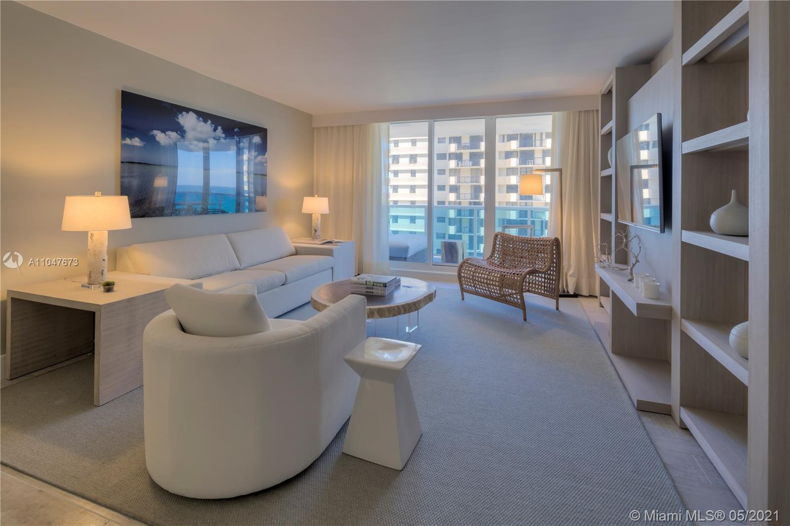 Gorgeous 1 bedroom ocean front luxury condo renting between 30%-60% below hotel rates. All of out properties come with luxurious linens and towels. Residences comes with fully furnished private balcony with views of the Miami skyline. Plush living room sofa that converts into a queen bed and a 4 seat dining table. Our guests have access to all of the hotel amenities including 4 swimming pools, 8 restaurants, beach service, cabanas, fitness center, spa, valet service, concierge, ballroom, conference rooms and more.