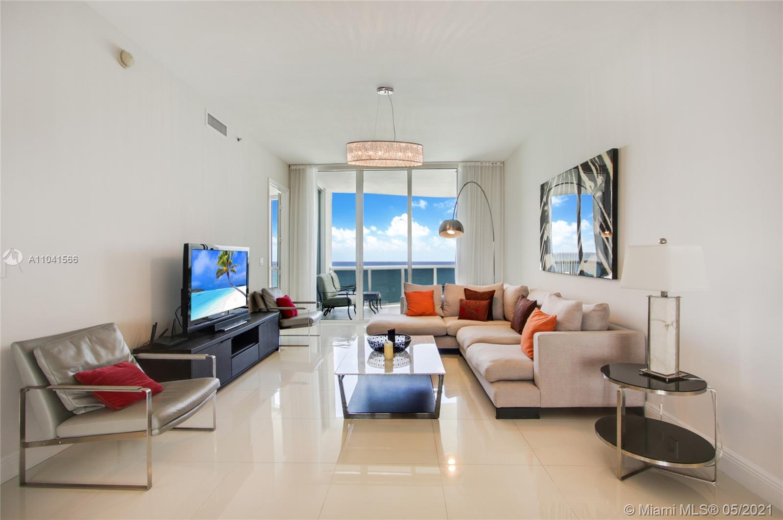 Enjoy breathtaking direct ocean and Intercoastal views from this gorgeous flow-through 3 bedroom 3.5 baths apartment in the heart of Sunny Isles Beach.  Unit features top of the line appliances, Italian kitchen, wine cooler & built in Espresso machine.  Trump Tower II is a full-service property with top quality amenities including two heated pools, fitness center, SPA, complete pool and beach services, business-center, and much more.
