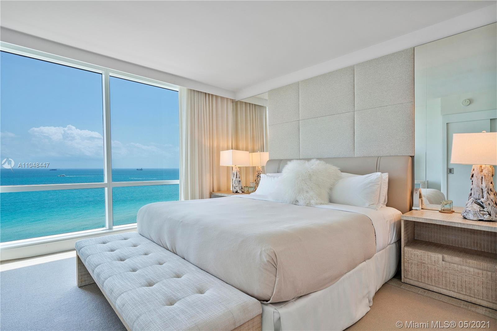 Amazing direct ocean 3 bedroom with breathtaking views of the ocean. The perfect Miami Beach spot to relax and enjoy gorgeous sunrise and sunset views. The furniture package was carefully and thoughtfully prepared by 1 Hotel with all the comforts and luxuries of a truly one-of-a-kind masterpiece. This is a turnkey condo with all the bells and whistles anyone could ask for. Enjoy resort-style living with an array of 5-star white-glove services at the property to include a 14,000 Sq. Ft. gym, spa, chauffeured Teslas, private rooftop pool & bar, 4 restaurants, 4 bars & much more. This is the nicest 2 bed in the building.     Experience luxury hotel living with extravagant 5-star white glove services - a truly opulent Miami Beach Oasis.