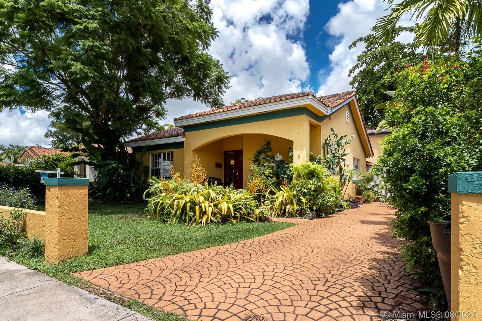 A charming 3 bedroom, 2 bath single family home located in the historic, desirable, and exclusive city of Coral Gables one of the most sought-after neighborhoods. Fabulous spacious home with formal living room, dining room, family room, and updated kitchen. Kitchen offers ample counter space, SS appliances, plenty of storage and open to the dining area with dine in countertop. Vaulted ceiling with lots of natural light, tile throughout, covered patio and a lot more. Complemented with two independent 1 bedroom ;1 bath located in rear of the property with its independent entrance. Perfect home to entertain and enjoy conveniently located minutes away from Miracle Mile, expressways, shopping, amazing restaurants, supermarkets, golf courses, landmarks, and great schools.