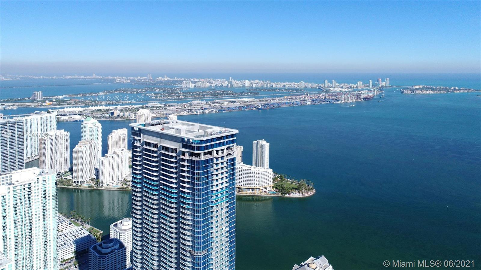 Spacious corner 1 bed w den and expansive views from the 44th floor of 1010 Brickell. Enjoy the large balcony which is great for entertaining friends and family. Enjoy the resort lifestyle with extensive amenities...  basketball court, two story club reserved for the building community, rooftop pool, rooftop bar, indoor pool on 50th floor, fitness center, kids activity room, spa, sauna, treatment rooms, bowling, virtual golf, valet parking, 24-hour security and much more! Located in the center of Brickell within distance of everything! Minutes to Brickell City Centre and many shopping, dining and entertainment venues. Virtual staged furniture in photos.