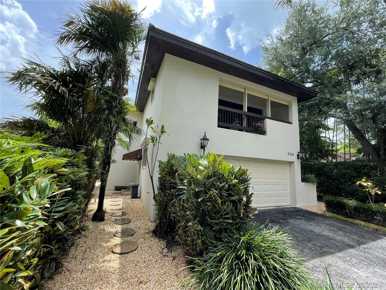Contemporary happy home for the well-deserving on stunning Maynada St. Sought-After University of Miami Riviera area of Coral Gables E of US 1, volume ceilings never rented. Immerse yourself into French Provencal garden style living - 360 degree walkway  - maintenance-free yard, beautiful professional Marble floors downstairs, 4 sets of sliding glass doors, 2 central air units, 2 Master Bedrooms. (or library /  media room with balcony) Live a desirable classy lifestyle in established high-end neighborhood adjacent to Ponce Davis, the French Village, Coconut Grove, South Miami, Sunset Elementary School (Sunset Magnet School) International Baccalaureat Program. Professional Rolladen Hurricane shutters, icemaker, 3.5 baths.2-car garage, Always Owner-occupied. Never rented.