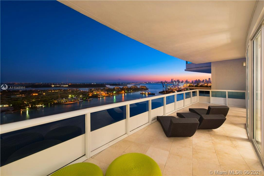 """Stunning renovated luxury penthouse ready to move in, beauty exceeds expectation with its breathtaking view. Private elevator, Sonos system, iPad & Apple TV in every bedroom/bathroom, 65"""" TV's, Lutron blinds, a/c with remote, fully equipped appliances, security camera, gym, personal training available, sauna, Spa, tennis court, concierge, La Piaggia restaurant access and Nikki Beach access with complimentary beach chair, umbrella, water and valet parking. 3rd bedroom can be used as an office or bedroom. ***Penthouse next door to 2803 is available for Sale as well as a package deal. Rare opportunity to own 2 penthouses on the same floor. Call Listing agent for more info."""