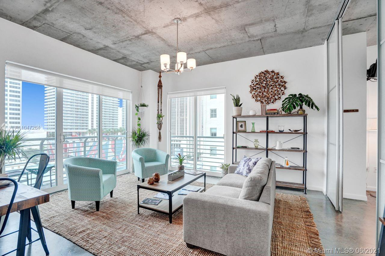DOWNTOWN LOFT BEING SOLD FULLY FURNISHED, VACANT, EZ to SHOW, QUICK CLOSE, ASSESSMENT PAID, FAST RISING NEIGHBORHOOD, .02 to WHOLE FOODS Stylish&Light-Filled! This turnkey, East-facing CORNER 2BR, 2BA Loft has 10ft. high ceilings and 100% natural , hand-knotted sisal rugs on polished concrete floors. Well-balanced floorplan. Both bedrooms are glass enclosed. Head to toe reno w/BRAND NEW furniture, furnishings and original vintage art and decor (inventory list available). Just bring your suitcases or rent it for 30 day stays (12 times a year).Fee includes fast Wi-Fi, cable tv & water. Garage parking (only if needed) for $60 per month.  Building has a gorgeous rooftop pool, a ground floor lap pool and an awesome gym. Up & coming techie neighborhood.