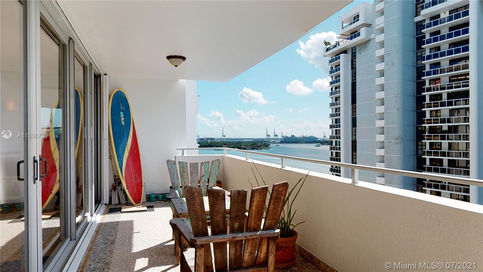 40 YR re-certified and well underway for clearing 50 YR in 2022. Clear blue skies, abundance of natural light,  spacious rooms, ample storage, beautiful bay and marina views.  Porcelain tile floors, impact windows/doors, ensuite bathrooms, HUGE balcony, and TONS of storage. Building renovations are underway-NEW hallways (completion 12/21), entry doors, lighting, wallpaper, elevators, fire sprinkler system, AC and more.  Perfect location to enjoy the best of the Beaches and MIA. Everything you want to see or do-minutes away. Pet friendly building, and you can install a washer/dryer in the unit.