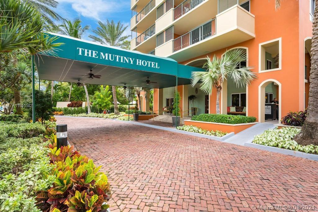 Beatiful  Fully Furnished 1/1 Condo in the heart of Coconut Grove in the Mutiny Hotel. Remodeled kitchen, quartz counter top. No carpet, all tile floors, window treatments. Building amenities include heated pool, gym, business center, spa, sauna and Full service restaurant/bar. One covered parking included. Maintenance includes water, cable. Valet parking, 24 Hour Security. Owners have the option of renting the units themselves or use the hotel rental program. No min. rental restrictions!