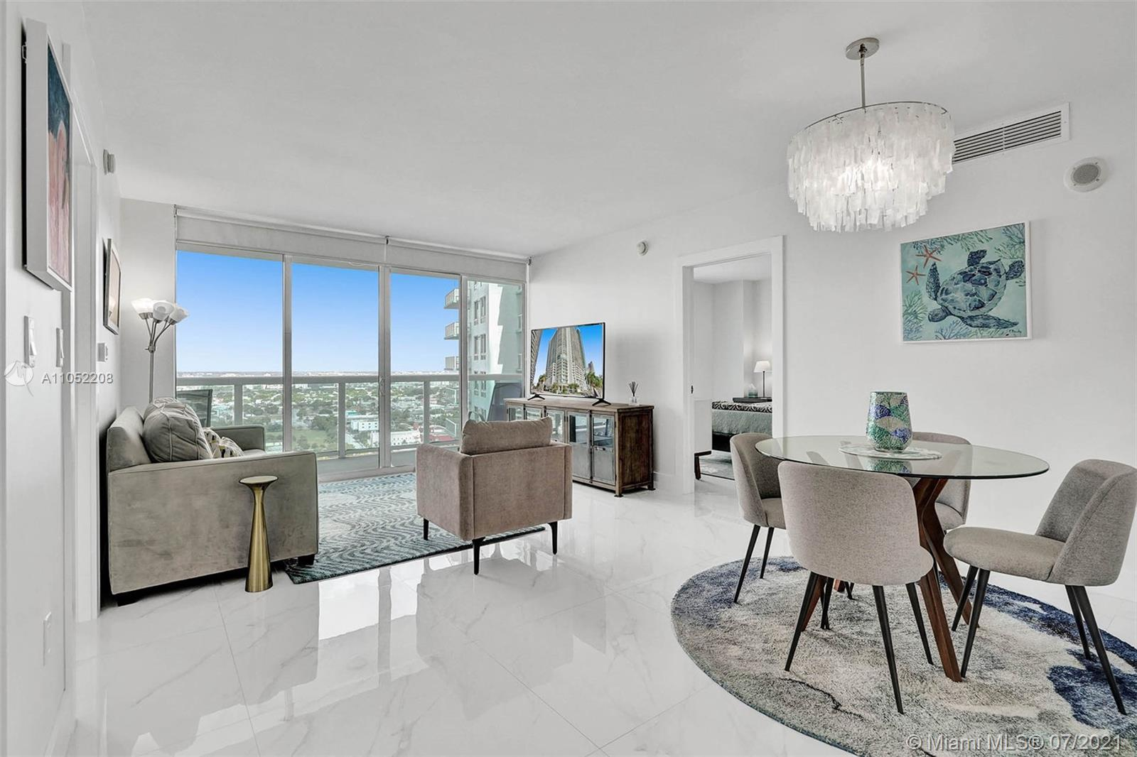 Substantially remodeled luxurious unit on the 28th floor  at the 1800 Club Condo  in the heart of Edgewater. This 2 bedroom and 2 bath features white porcelain floors throughout, modern kitchen, quartz counter tops, stainless steel appliances, custom master bedroom walk-in closet. No details have been spared in this unit with custom design finishes throughout. Other  Upgrades include: custom kitchen with quartz countertops, custom bathroom  vanities, showers, recessed lighting, Tankless Water Heater, custom doors, and more. 1 parking space deeded, large storage. Full amenities building, state of the art gym sauna $ steam room, water included in low HOA. Walk to Margaret Pace Park. 2 blocks to people Mover, 5 Minutes to Downtown Miami,  The design District, Midtown, Wynwood, Miami Beach.