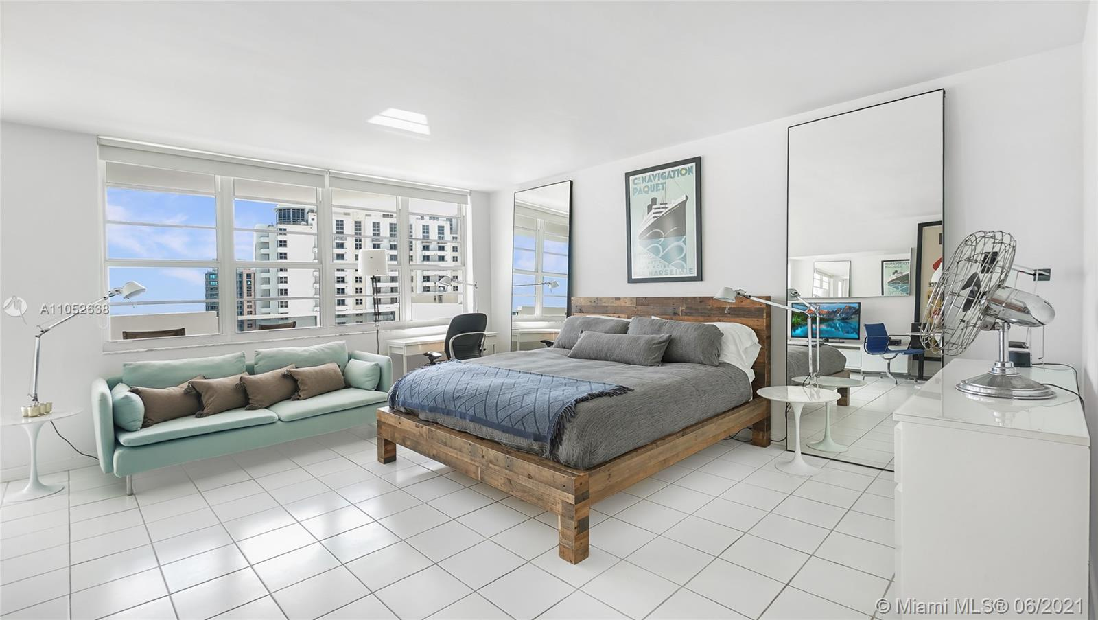 Stunning turnkey oceanfront loft-like studio with forever ocean views. This renovated high-floor unit is drenched in natural light from its desirable southern exposure. Complete with a large private balcony, renovated kitchen with stainless steel appliances, Caesarstone countertop, built-out closet, and tile floors throughout.  Located in the Decoplage, a luxury condo set in the heart of SoBe that allows short term rentals, making this a great pied-à-terre or investment. The building has just undergone extensive façade work, installation of impact windows, a lobby redesign, and renovation of the elevators, heated pool, fitness center, recreation room, business center, club room & laundry facilities. Maintenance includes A/C, Internet, and 1 valet parking space. Assessments paid in full.