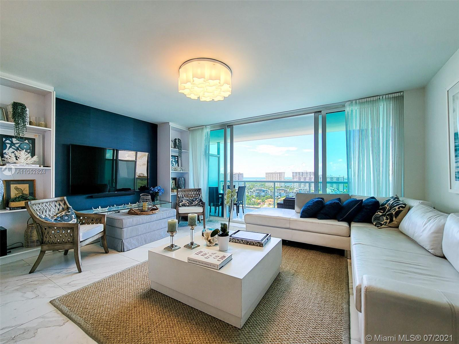 Beautifully Decorated Waterfront unit. Great, spacious floor plan, modern and yet cozy. This walking distance to the Beach Building offers hotel lifestyle amenities such as Concierge Services, Valet, Gym, SPA, Boat Marina and more. Beach service is available as well as transportation to/from the beach. Assigned parking and valet. Showings starts on June 8, 2021. Call us to learn how you can call this HOME.