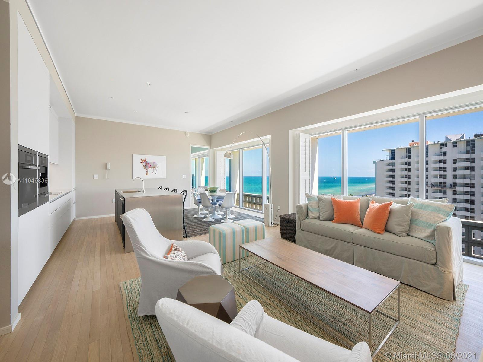 Live in splendor at one of Miami Beach's most iconic addresses, the Edition, the pioneering location of the brand personally crafted by impresario Ian Schrager. This high-floor residence offers a classic split plan layout, with enough room to entertain in style. The two-bedroom apartment offers sublime city and ocean views from every room, as well as a private balcony. The luxurious Bulthaup chef's kitchen offers Miele and Subzero appliances, including a wine fridge & cappuccino maker. All two and a half baths are well-appointed, with special attention given to the onyx master bath with a dedicated wet room. The Edition's roster of amenities is truly spectacular, including accouterments like an ice skating rink, bowling alley, and lavish spa. It is being sold fully furnished.