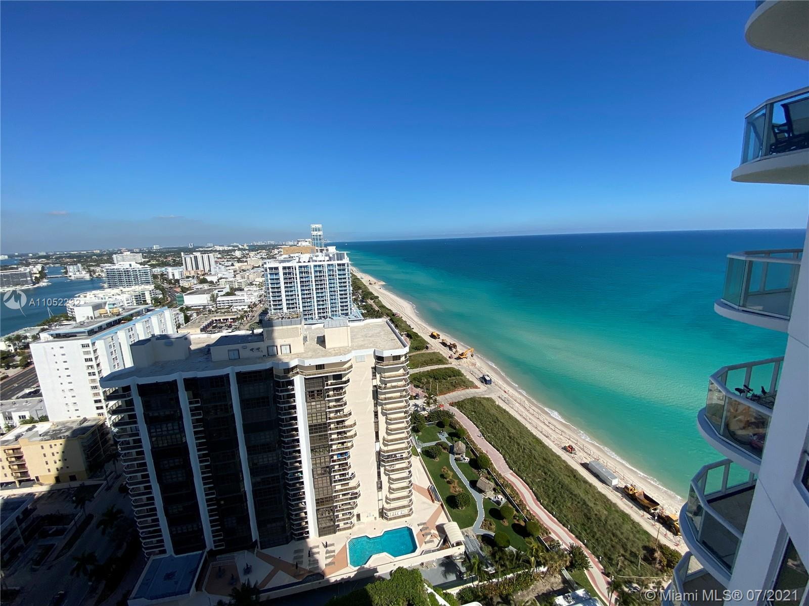 Amazing ocean and intercostal views from this contemporary decorated and furnished unit. The building allows 12 rentals a year and offering luxury amenities pool, jacuzzi, tennis, sauna, gym, 24 hr security and valet close to South Beach, shopping's & restaurants. Optional owner sell cabana. Cable TV and beach service.