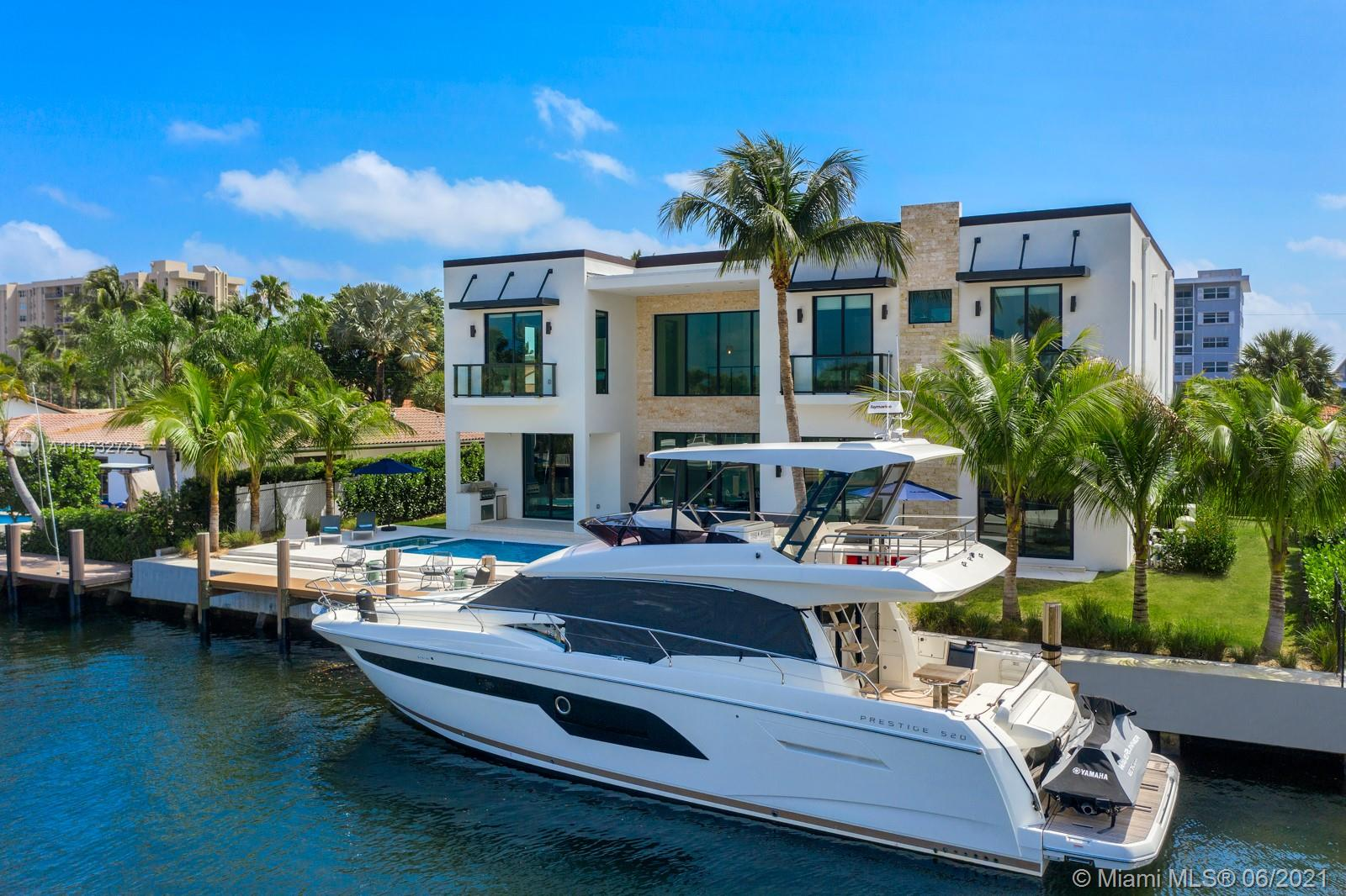 This modern new waterfront home was built in 2021 and decorated by famous BBH design. Residence features 6 bedrooms and 6.5 baths, every bedroom has a bathroom inside, one master bedroom downstairs, and a luxurious master suite overlooking the waterway. Top of the line appliances, quartz waterfall countertop, and Wolf gas Professional range. Direct ocean access, 100' on water able to accommodate up to an 80' yacht. 2 car garage, hurricane impact windows and doors and multiple entertaining areas.