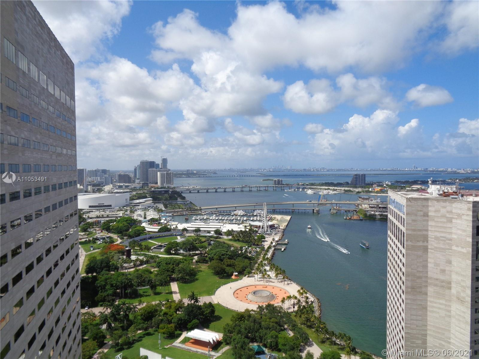 GREAT UNIT LOCATED RIGTH ON THE WATERFRONT IN DOWNTOWN MIAMI WHERE THE MIAMI RIVER MEETS THE BISCAYNE BAY. CLOSE TO BAYSIDE MARKETPLACE, BAYFRONT PARK WHERE YOU CAN ENJOY FESTIVALS AND OPEN SPACES, AMERICAN AIRLINES ARENA, THE ADRIENNE ARSHT CENTER FOR THE PERFORMING ARTS AND GREAT SHOPPING AND RESTAURANTS AT WALKING DISTANCE.  ONE MIAMI BUILDING ALSO HAVE EXCELLENT AMENITIES, BEAUTIFUL POOL AND TWO WELL EQUIPPED  GYMS.