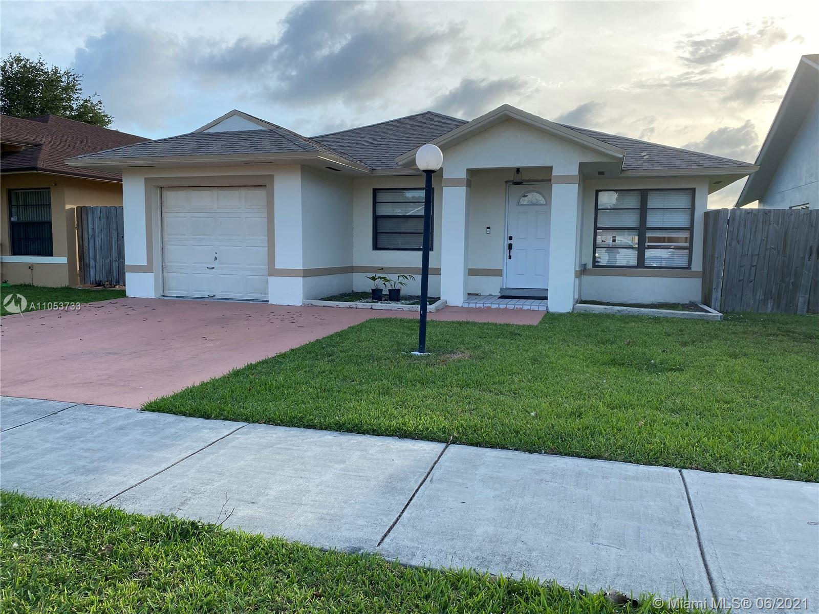 Beautiful Updated Cutler Bay Home with Canal view. This home features 3 bedrooms and 2 bathrooms with 1 car garage. The kitchen was remodeled in 2018, the appliances were installed along with a wine chiller. The Roof and A/C were installed in 2019, Electrical Panel was updated in 2020, these updates were done with permits. The bathrooms have been partially remodeled, per the owner, the shower in both bathrooms needs to be tiled for the City of Cutler Bay to close out the open/expired plumbing permit. The property is being sold in AS-IS Conditions. After closing, the new owners can have the luxury of choosing the color tiles to complete the showers in both bathrooms.