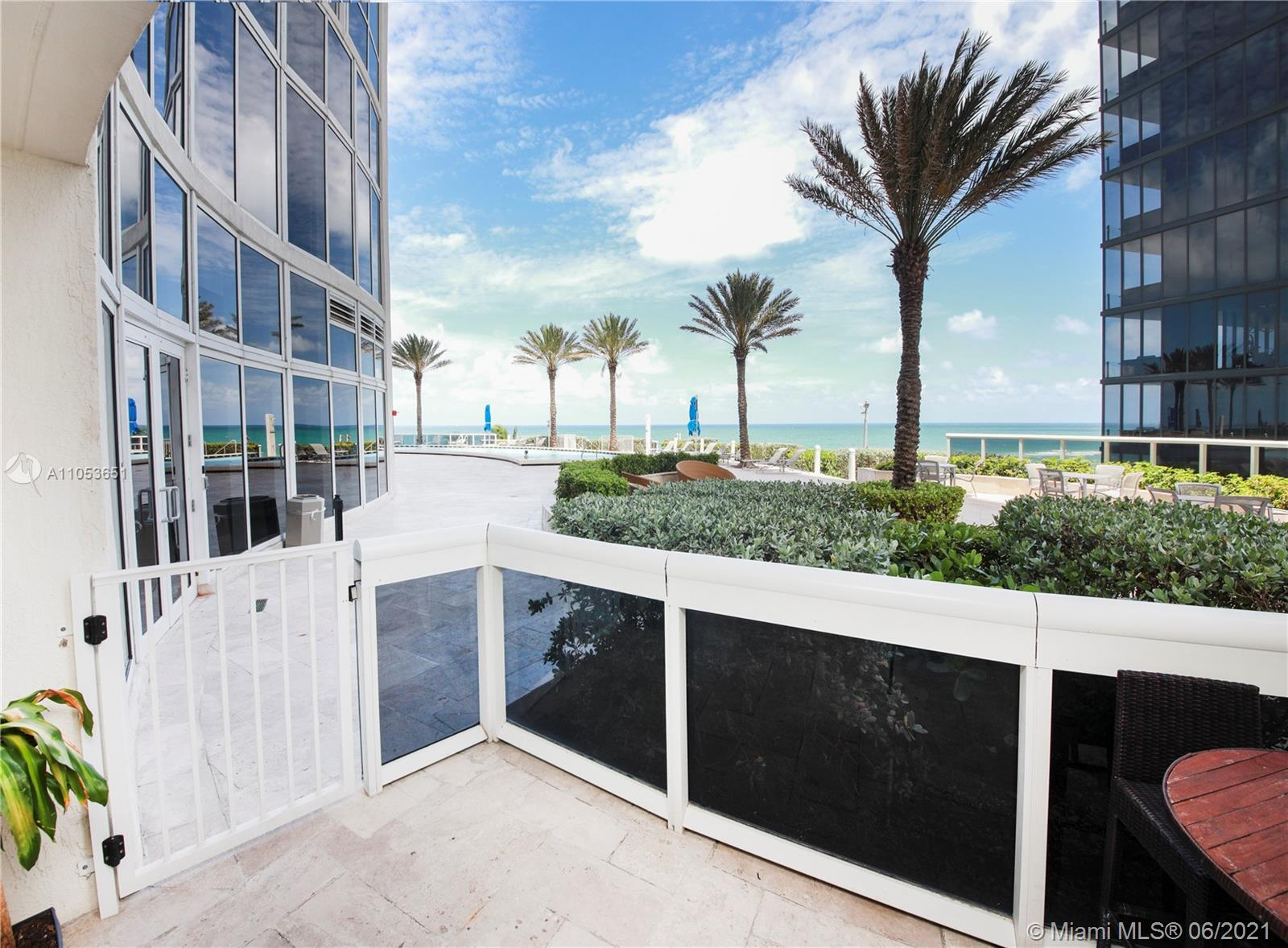 Beautiful Lanai Unit! One of the most spectacular units in the building. Enjoy waking up pool side as your balcony leads you directly to the pristine white sand beaches of Sunny Isles. Apartment has 2 Full Bedrooms + DEN, 2.5 Bathrooms.   Enjoy Private Beach Service, Gym, Spa and much more.