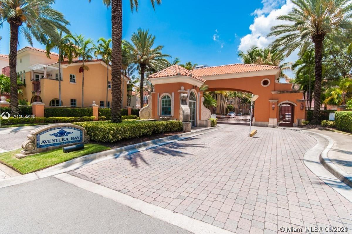 Mediterranean style two stories and two car garage townhome in the heart of desirable Aventura. 3 Bed/2.5 Bath in Aventura Bay Townhomes community. Marble and Tiled floors throughout with Washer and Dryer in the unit. Spacious master suite w/high ceilings and two walk-in closets. Updated landscape in the backyard. Owners of this luxury community have access to amenities like an exercise room, swimming pool, and guard-gated security. Within two miles, you will be able to find private spas, tennis courts, marinas, shopping malls, and much more.
