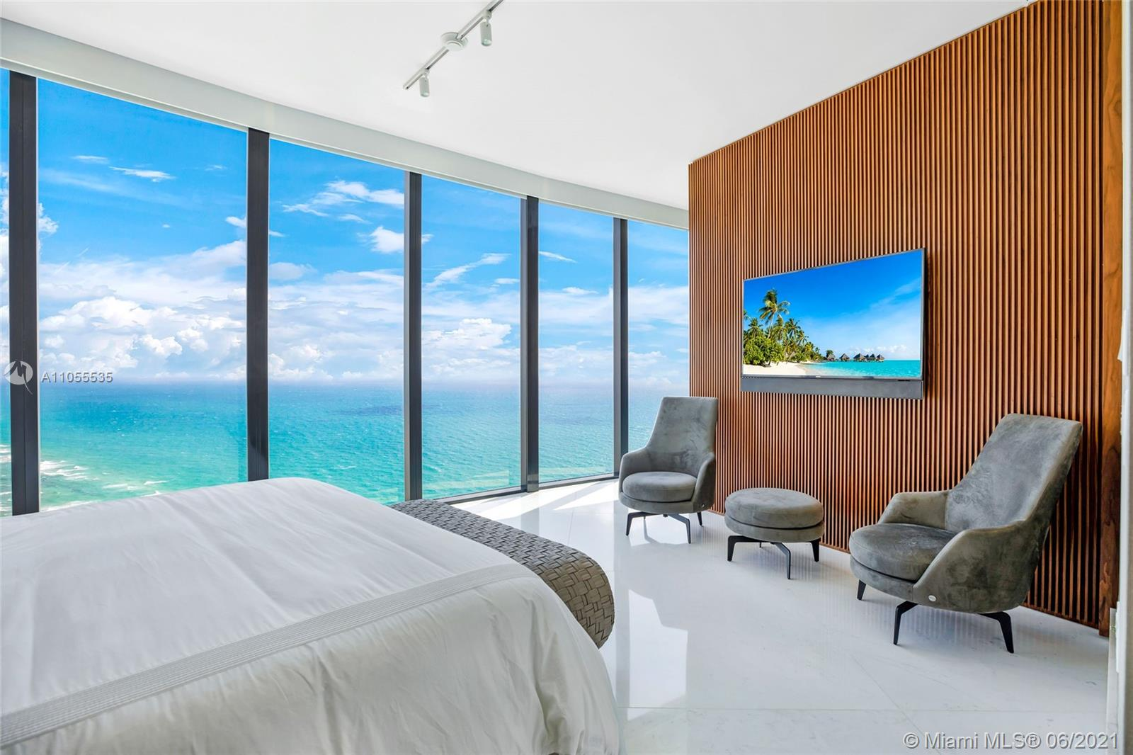 BRAND NEW & Never Lived in 4 Bedroom Direct Oceanview Sky Villa at Porsche Design Tower. Unit was just finished now on June 2021. Huge Balconies with Summer Kitchen and Private Swimming Pool + 3,555 sqft of interior space. Carrara Marble floors, Savant Automation Home System, Bank & Olufsen Sound System, Custom Mirror TV, Ornare Custom Walk in Closets, and Blackout Shades in all the Bedrooms. This residence features an exquisite Designer Poggenpohl kitchen with Miele appliances. A 2 Car Garage connected to your residence gives ultimate privacy with a lift to bring your car up to the 43rd floor. The building amenities are unmatched featuring a full service Restaurant, Lounge, Spa, Pool and Beach with Service, State of the Art Game room and Club Room and so much more. Easy to Show.