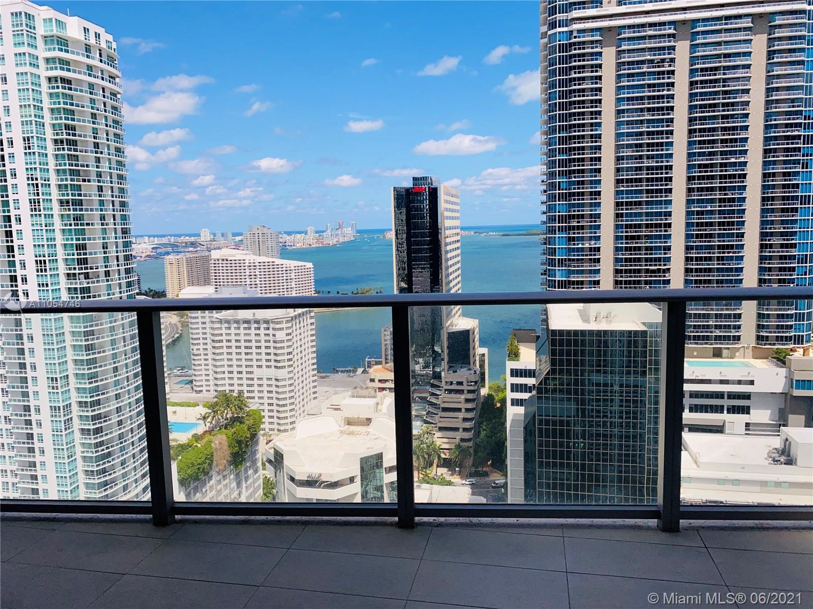 Brickell 1010, the New Luxury Urban Living with spectacular amenities for adults & children! Exquisite, 3bd + Den 3bth residence in the sky! 180 degrees of Bay, Ocean & gorgeous City skyscraper views!!! Private elevator, modern designer finishes & upgrades throughout, European kitchen, Floor to ceiling windows throughout. Large balcony w electric BBQ. Building offers incomparable amenities, 2 pools (Heated & Rooftop), Basketball, Squash, Arcade, Jogging Track, Gym, Spa, Social Room, Movie Theater, Business Center.