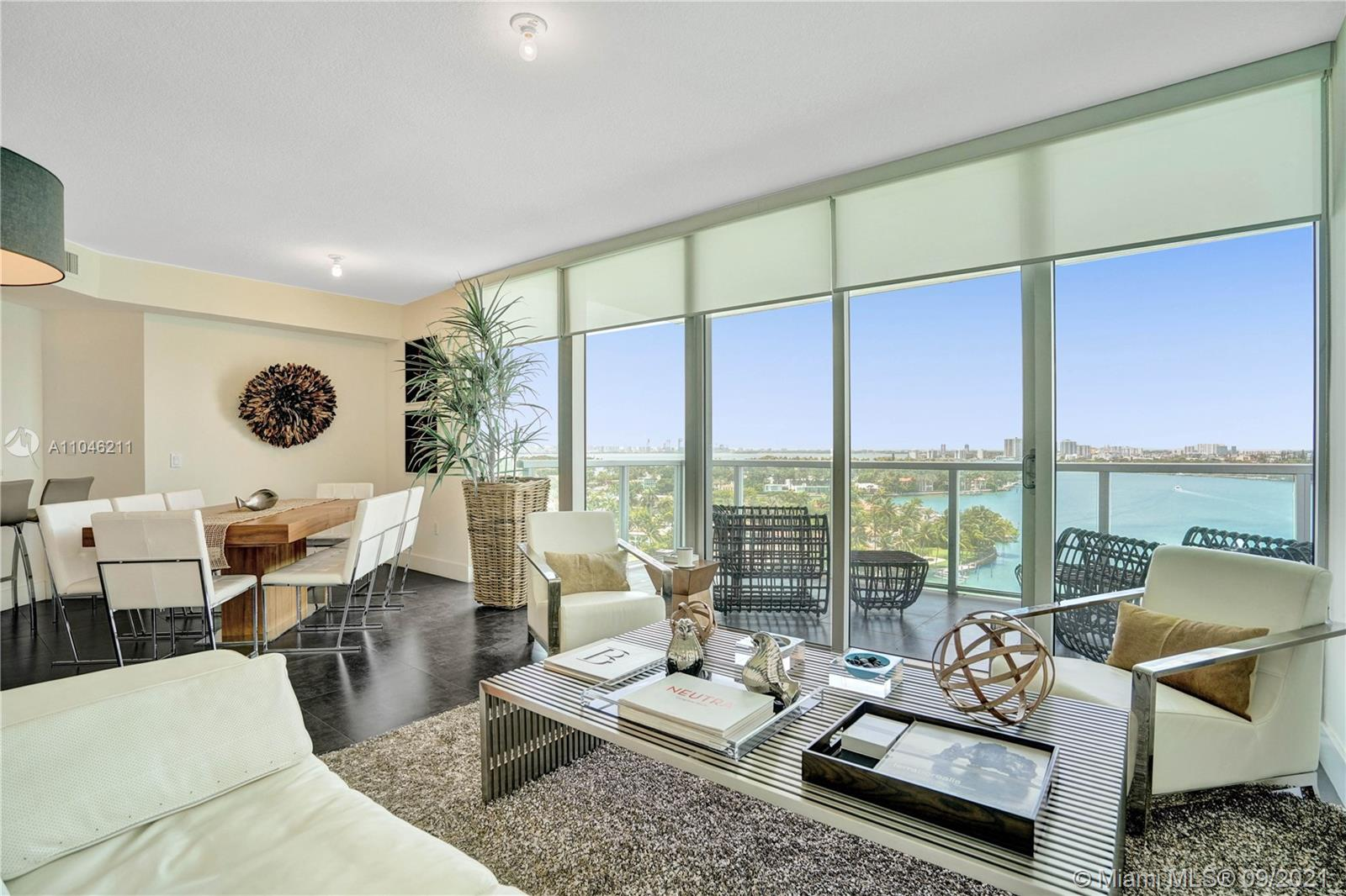 Facing Alison Island and Normandy Isle this corner unit located in North Shore offers amazing intracoastal and ocean views and Miami skyline in the distance. Designer decoration with attention to detail and impeccable taste. Tobbaco terrazo flooring throughout including terraces. Living and dining area with water views and close to the open kitchen perfect for entertainment. Main bedroom with walk-in closet and private office area. 2 junior suites with views and access to private terraces. 3 full bathrooms and 1 powder room. 2 parking spaces.  Eden House boutique building offers 24/7 front desk attendance, valet parking, management in the building, state-of-the art gym with water views, pool overlooking the intracoastal, waterfront cabanas, paddle board lift and more. Offered furnished.