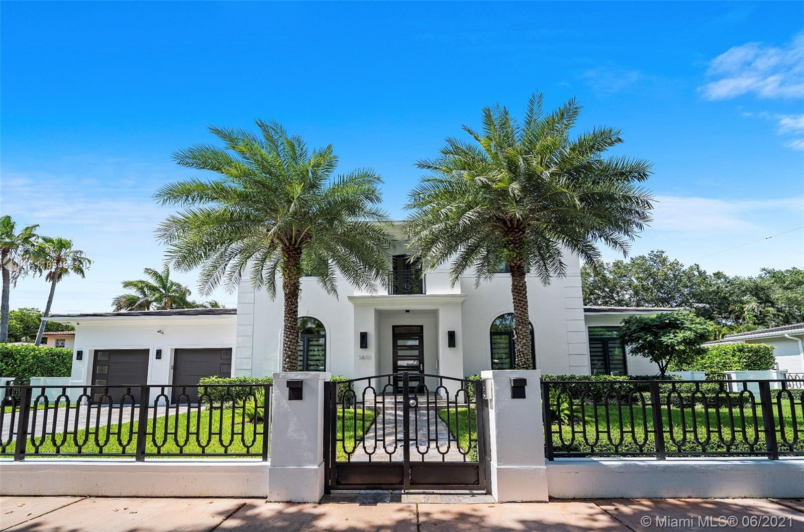 This beautiful, modern home built in 2017 is situated on a gated 11,500 SF lot located in the highly desired area of Coral Gables.   Boasting 5,500 SF of living area, with 5 bedrooms and 5.5 bathrooms, and a clearly defined floorplan, there's room for the whole family to live, work, and play!  Sophisticated & elegant finishes throughout the home, including a spacious master bedroom with a terrace that overlooks the pool and garden area.   Sit back and relax in your home theatre or entertain outdoors by your fully-equipped outdoor kitchen, patio, and sleek pool. With terraces throughout, this home makes indoor-outdoor living look easy.   Just minutes from Riviera Golf Course, the University of Miami, and the Shops at Merrick Park, you don't want to miss out on this gem of a home.