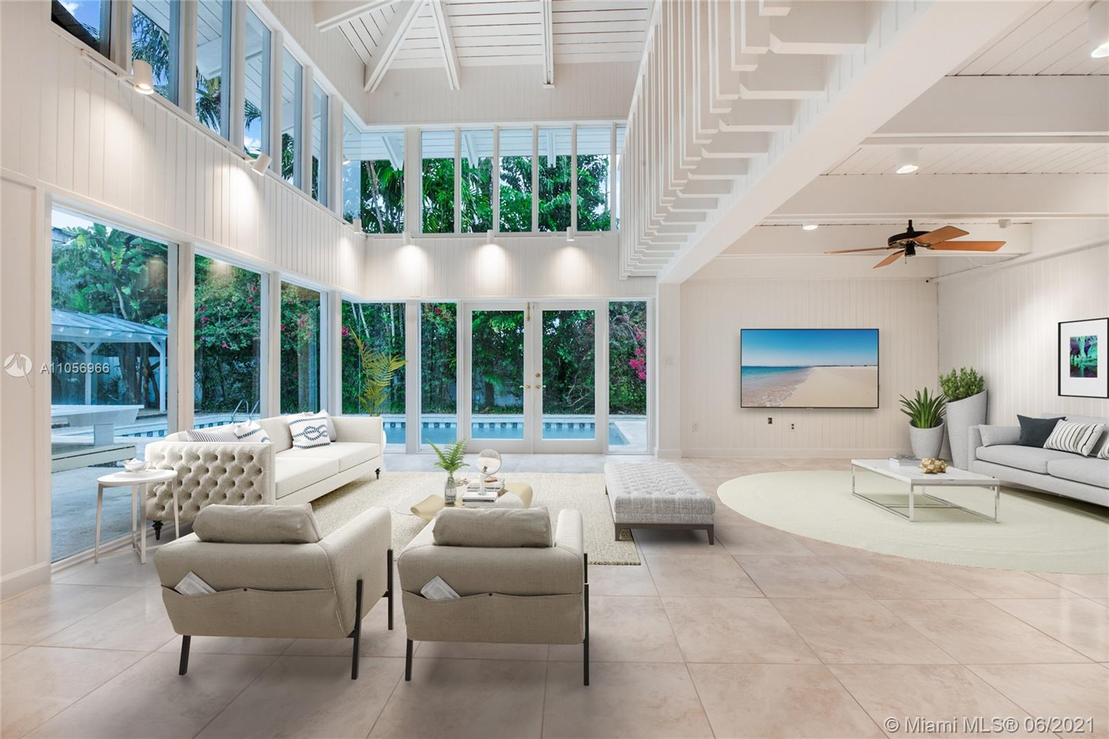 Luminous Key West-style residence located in the prized and highly sought-after High Pines/Ponce Davis neighborhood. The residence relishes in natural light just about all day long from the many windows and doors. The cathedral ceilings plus the 360 views of the colorful grounds, pool, pavilions + arbors add to the drama! The home features lots of casual spaces and offers flexibilty in its layout (currently 2 bedrooms + den/3rd and loft). Its kitchen enjoys a large breakfast area and it's also adjacent to the formal dining and storage room. This is the neighborhood's best value and expected to sell expeditiously!