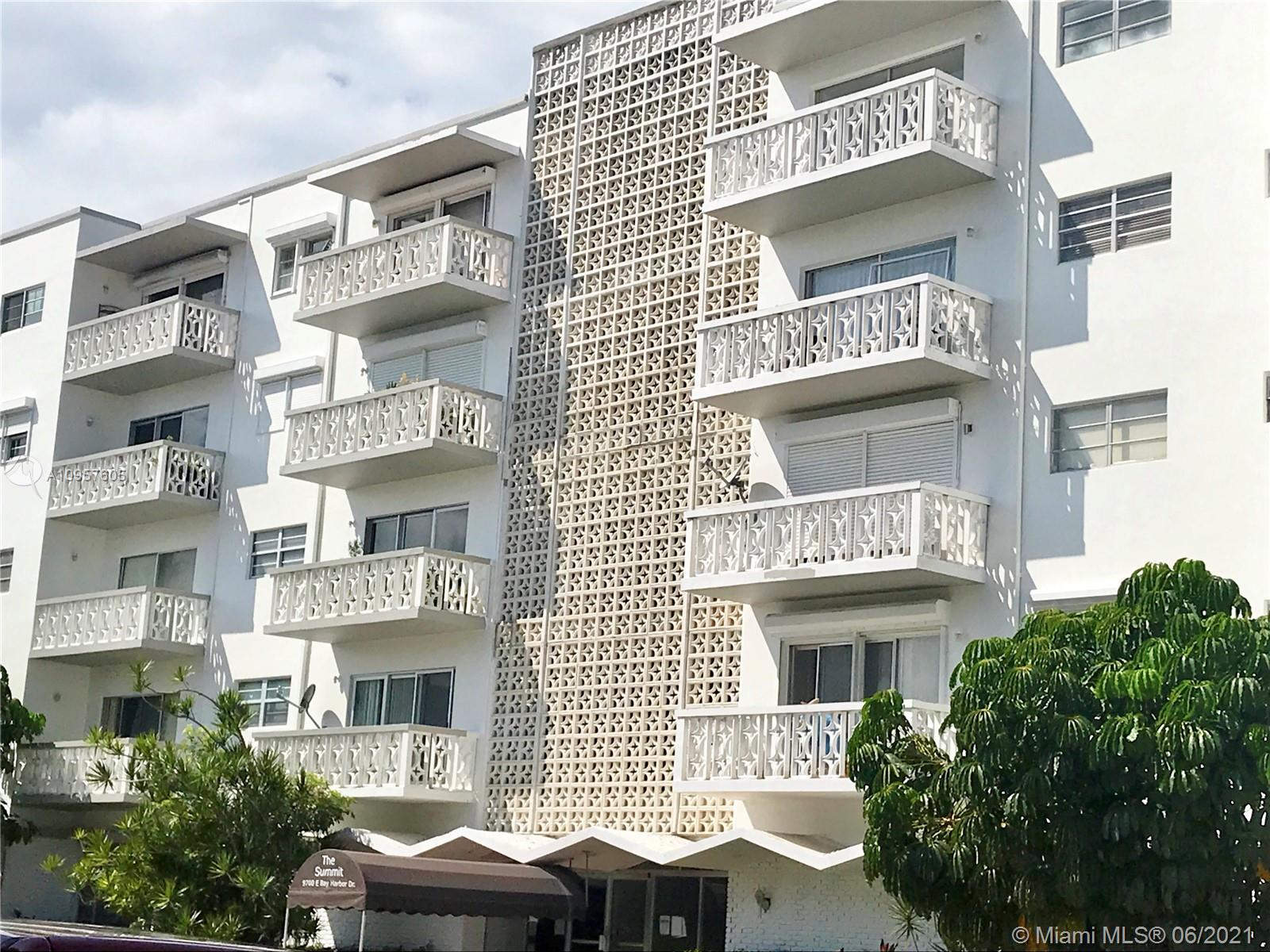 Large, corner, 2 bdrm/2 bath condo in sought-after Bay Harbor Islands.  Sunny SE exposure.  Spacious unit has Terrazzo floors throughout, 2 large balconies, new A/C 2019, ample closets, additional large detached storage, hurricane shutters.  New lobby, roof, & external paint.  Building currently completing remodeling & 40yr certification.  Quiet building in a safe neighborhood, conveniently located across the street from BHI Police, 1 block from Kane Concourse shops & restaurants, steps away from numerous Houses of Worship, Surfside (Publix, CVS, Starbucks, etc.), prestigious Bal Harbour Shops, & the beach is a short 9 minute walk!  If you have children they will qualify to enroll at A-graded Ruth K Broad school, ranked one of the best K-8 schools in M-D.  GREAT BUY, priced to sell as is!