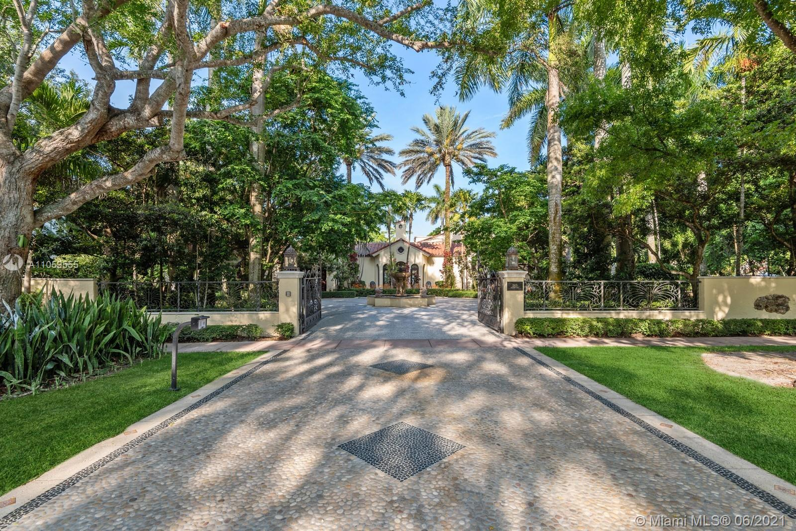 Spectacular Property Heart of Historical Coral Gables! Masterpiece with intricate layers attention to details.  Stainless Glass, iron work, wood beams. Corner lot 26,375 SF. Gated West Granada entrance circular mosaic stone driveway fountain. Gated South entrance driveway & garage. Breathtaking Gardens. Coral Rock Grotto, two Koi ponds & waterfall. Lighting, Generator, Loggia, Pool, Gazebo  & BBQ. Interior STUNNING! Six Bedrooms five Bathrooms two Half Baths & Gallery. High ceilings, ceiling wood beams, two fireplaces, Venetian Plaster & textured paint through out, wood arches mosaic tiles. Basement movie theatre & wine cellar. Walk to Historical Biltmore Hotel Golf & Tennis, Venetian Pool, Miracle Mile, Granada Golf Course, De Soto Fountain. Amazing Elements make this a Blissful Property!