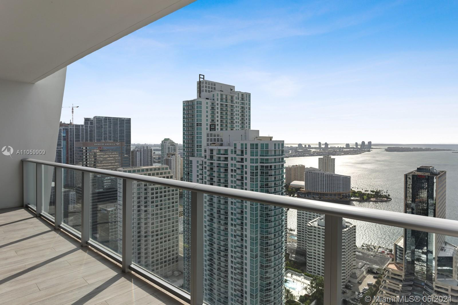 BEST PRICED UNIT AT 1010 Brickell! Beautifully upgraded spacious 2 bed 3 full bath + den. Murphy bed already installed. Convertible office to guest room. Enclosed den with a full bathroom and closet. Modern floors. Split floor plan. Step into the dining room from a private elevator. Enjoy amazing Views of the Bay, south beach and Port of Miami from the 2 private balconies.. Walking distance to Brickell City Centre and restaurants. 5-star amenities. Running track, indoor and rooftop pool, sauna, jacuzzi, kids club, basketball court, racketball court. 1 parking space included. IT WON'T LAST!