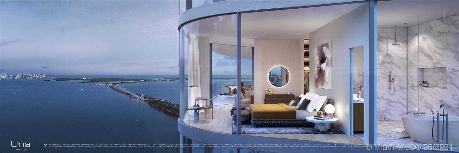 UNA's 135 luxury residences set the standard for Brickell waterfront living with visionary design, inviting gardens and unrivaled views across Biscayne Bay. The 47-story iconic tower is recognizable by the smooth, light metallic surface and striking silhouette that recalls the shape of a wave. 2-5 bedroom residences feature 11 ft floor-to-ceiling glass and expansive terraces as well as an array of amenities including three pools, a spa and gym elegantly envisioned by the chairman of Aman, private elevators and private boat slips. With easy access to Coconut Grove, Downtown, Brickell, MIA and the beaches of Key Biscayne, UNA is exemplar for Miami Living. - unit comes finished with flooring.