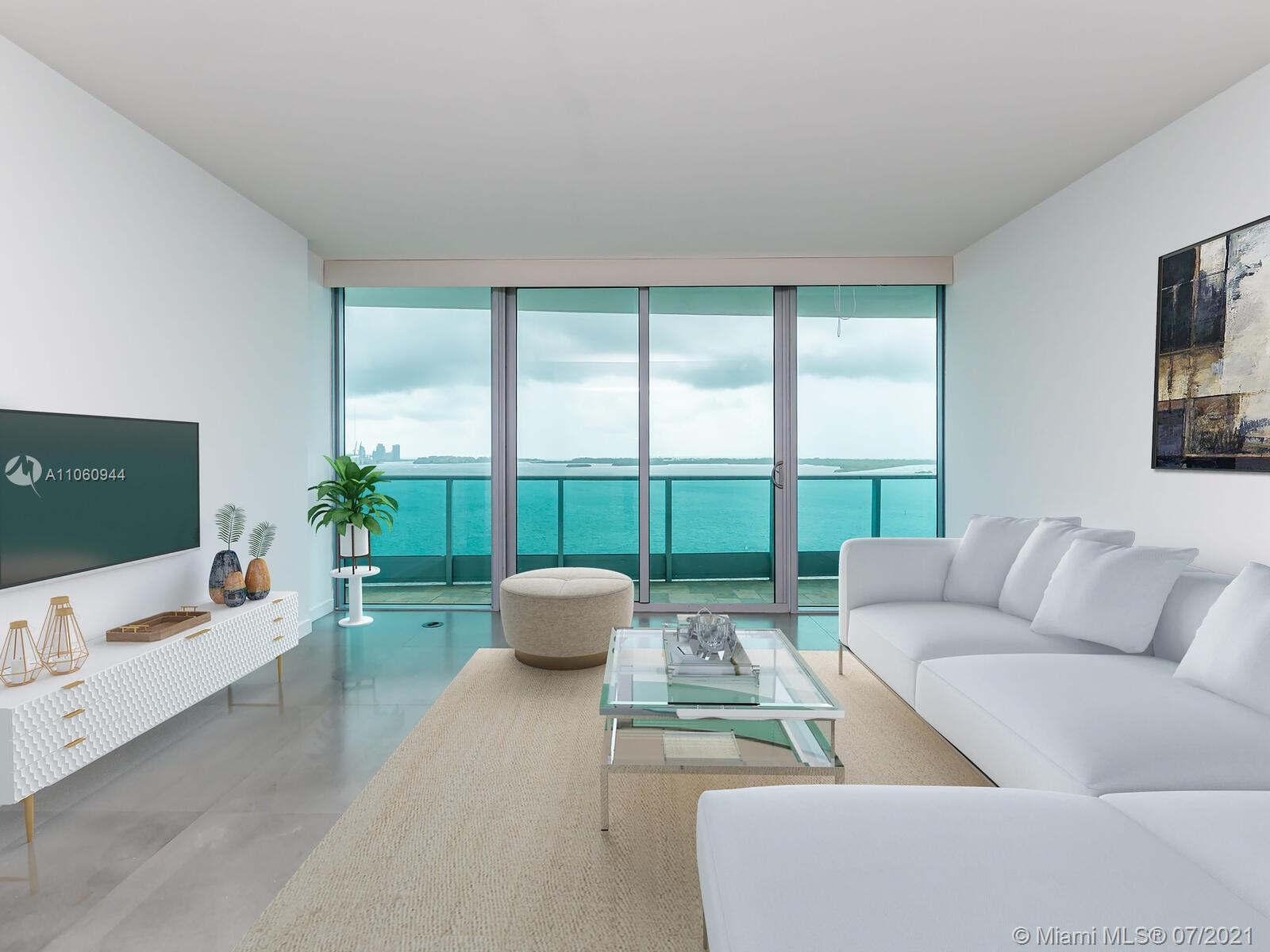 Enjoy spectacular water views from this 2bed,3bath +DEN unit with expansive balcony overlooking the Ocean, Biscayne Bay & Miami Beach in one of the best lines in the building. A private elevator will bring you right into the residence, offering unique Italian floors, Euro-style kitchen, SS Appliances, stone counters. Jade is a sophisticated Bldg.with a 5 Star resort-style amenities: state of the art fitness center, health spa, water-front pool, Business Center, Roof top Community room, full service concierge,24hr valet parking,Two parking spaces included: one assigned, and one complementary valet parking. Jade is located in the heart of Miami Financial Brickell Area, steps to Brickell City Center, Mary Brickell Village, metro mover, shops and Restaurants