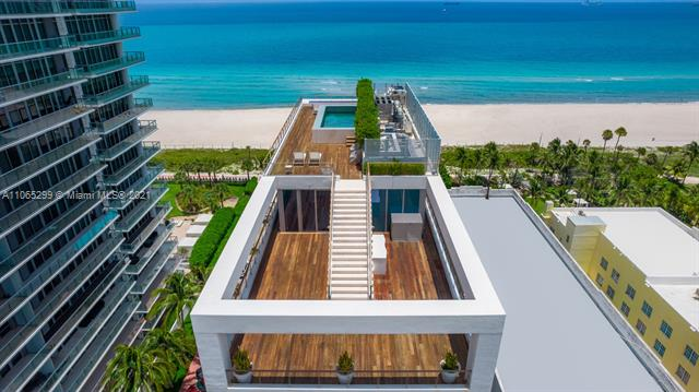Located at Miami Beach's exclusive boutique building, Beach House 8. This custom 3-story full floor oceanfront Penthouse offers breathtaking ocean and city skyline views. Spanning 10,036 sf, with 5 beds and 6 baths, flow through layout and floor-to-ceiling impact windows. Impressive Master Suite occupies a full floor and features private rooftop terrace with pool. Designed by renowned firm Arquitectonica, with interiors by Italian designer Michele Bonan. Sleek modern European style kitchen boasts bleached oak Boffi cabinetry and Miele appliances. Easy entertaining from deep outdoor spaces and media room. Amenities include beach service, resident pool, private cabanas, indoor/outdoor lounges, underground garage, valet, fitness center, and concierge services.
