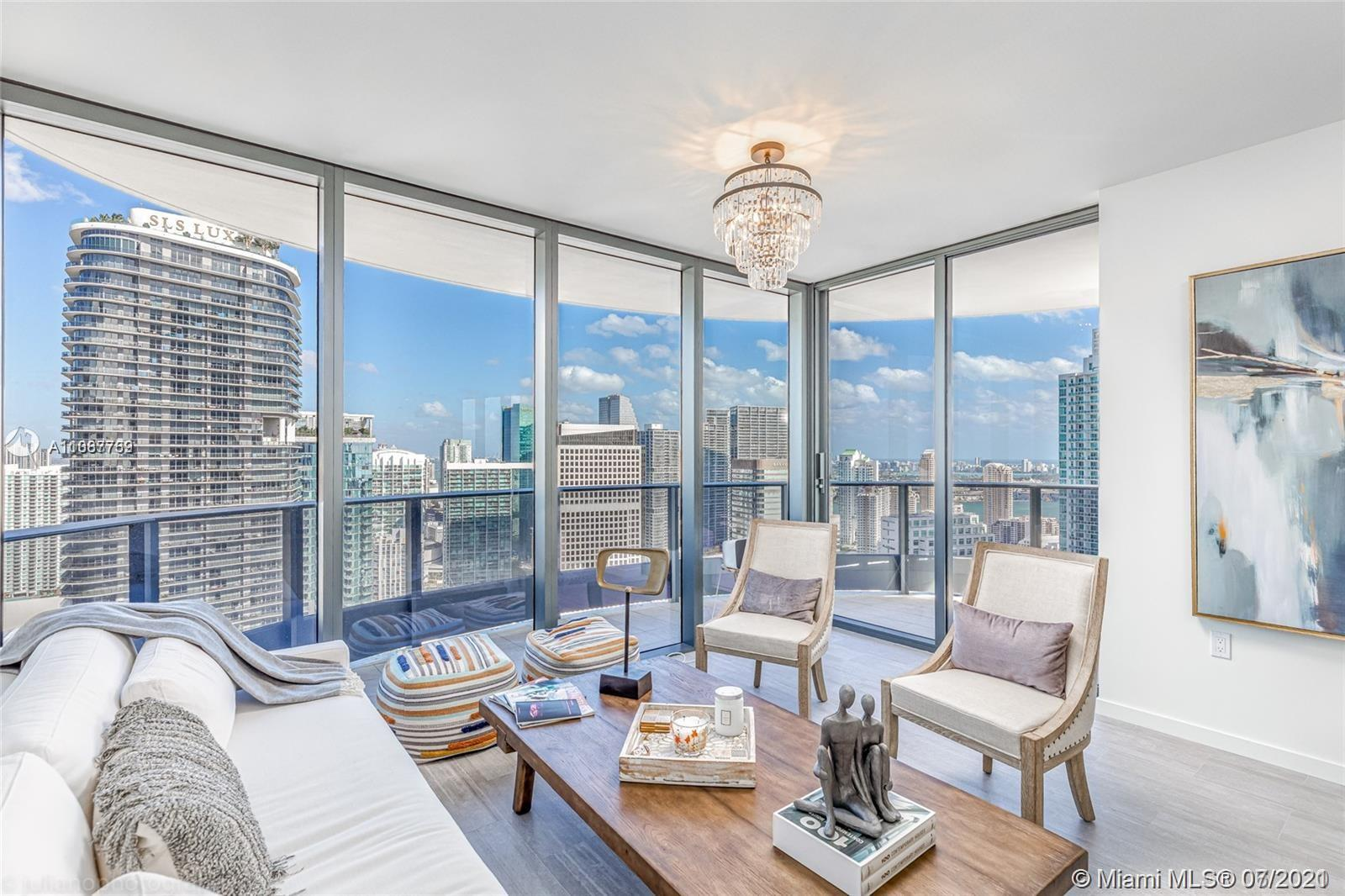 Turn key corner unit at the prestigious Brickell Flatiron. 2 Bed, 2.5 Bath + Den on over 1,400 Sq Ft. with beautiful views of the city and water. Highest quality Italian finishes throughout including Italian porcelain floors, Miele appliances and Snaidero cabinetry. Enjoy unparalleled amenities which include 64th floor rooftop pool, fitness center and spa with unobstructed views of Miami as well as a children's playroom, private movie theater and social lounge. Located in the heart of Brickell, residents are ideally situated within walking distance of Mary Brickell Village and Brickell City Centre which host the finest restaurants and shopping.