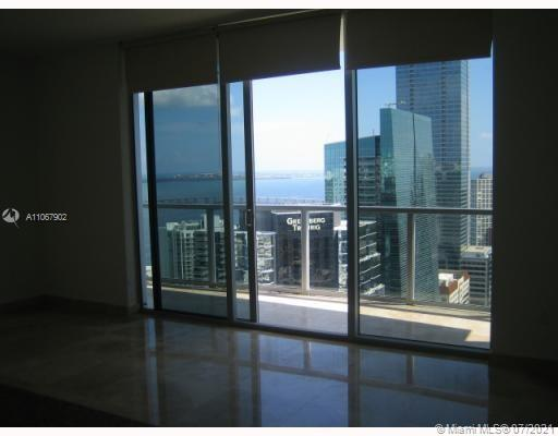 Beautiful studio on 33 floor, spectacular views, Luxury High rise condo on heart of Brickell !!!! Astonish marble floors including in the big balcony, top of the line kitchen, just fresh painted unit. Concierge service, parking space, security, spa, gym, amenities, etc.  Building across from Merry Brickell shopping center and walking distance to Brickell City Center, cafes, restaurants, supermarket and Metro mover & Metro rail.  Important: Tenant should be qualified  and approved by condo association.  It won't last!