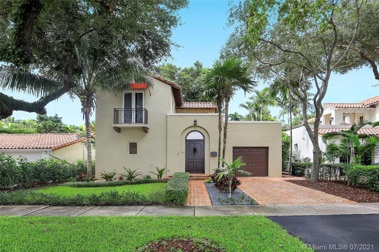 """Lifestyle, location, beauty, and charm, this spectacular Coral Gables home has it all! Open the stunning wooden gate and enter your private courtyard into your new turn key home. The natural light flows freely through this two story home into the new remodeled kitchen which is stunning and done tastefully. The living room boasts beautiful built-ins for storage and electronic equipment. The master suite includes a spacious closet and gorgeous bath with spa tub and separate shower. Enjoy the amazing courtyard and upstairs terrace for relaxation and entertaining family and guests. This home is surrounded by lush tropical landscaping covering the entire property, including the one car garage. Come live in one of the most sought after neighborhoods in Miami, Coral Gables """"The City Beautiful""""."""