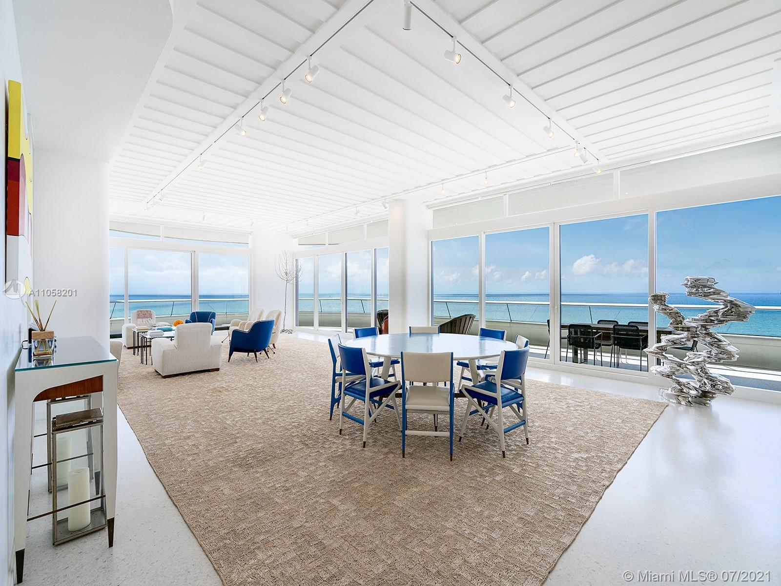 This bespoke oceanfront residence on a high floor of the extraordinary Faena House, by the renowned architecture firm Foster + Partners, sprawls over 4,730 SqFt. with 4 bedrooms plus a butler's room, and six and a half baths. The gourmet kitchen was custom-designed by Molteni & C and Foster+Partners, with Miele appliances, while outside, the deep alero offers a spectacular ocean backdrop and access to almost every room. Terrazzo and light oak floors are throughout. The residence's interior design by Jacques Grange adds touches like a rhythmic bamboo wall-paneling in the lounge, or a multi-layer plaster finish throughout. In addition to the impressive amenities offered by the building, residents have full access to everything the adjacent Faena Hotel can provide, inclusive of room service.