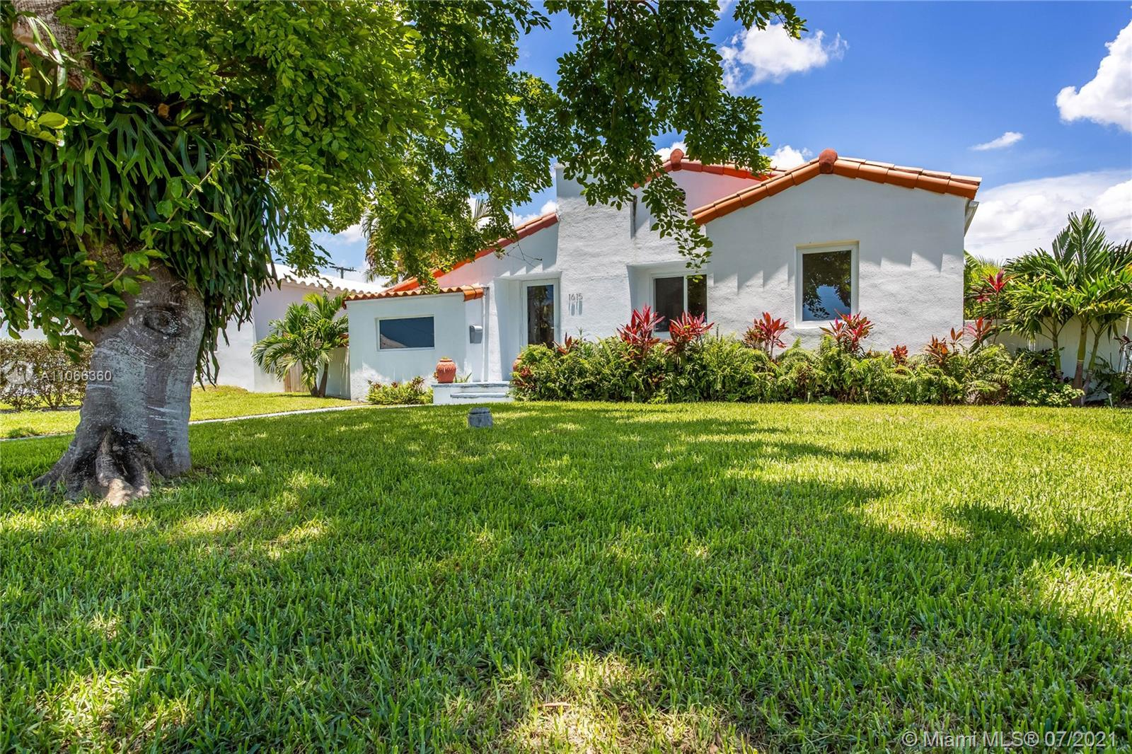 Only a short walk to the ocean! Extremely quiet, private, family-friendly street. Bright and open Miami Beach home with high vaulted ceilings in the entry living room. Located in the desirable Normandy Isles neighborhood. The property features a large open-flowing layout which makes this home perfect to entertain. Beautiful, open, white kitchen with stainless steel appliances. Across the street from waterfront open bay, multi-million dollar properties. Enjoy the lush, large backyard with a charming vegetable garden and Mango tree. Additional info: No HOA; all impact windows; renovated, modern kitchen and baths. Family-friendly community with Normandy Isle Park & Pool a few blocks away.