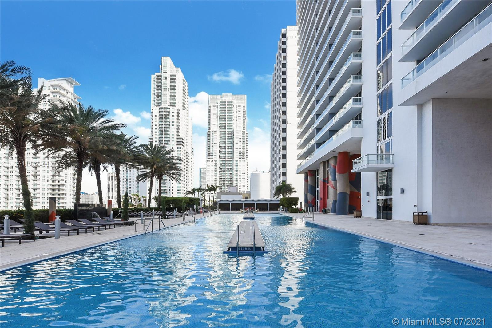 1 bed converted to 2 bed. Full service building with great amenities such as pool, spa, full size gym, front desk. Tastefully furnished apartment with master suite plus enclosed Den/Suite. Located in front of bayside very close to restaurants and shops. Unit can be rented once a month. No Airbnb allowed.