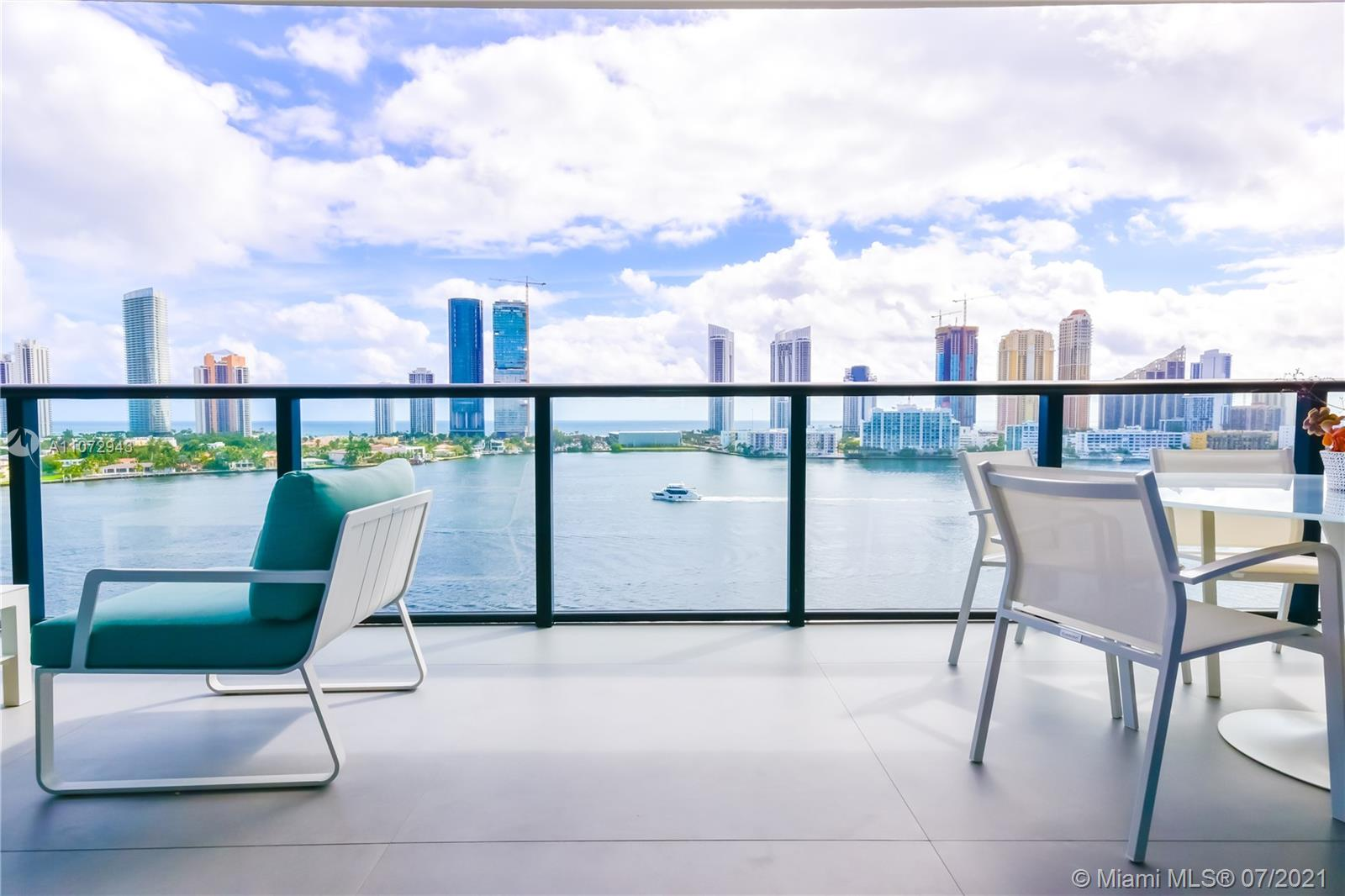 Impressive and unique large unit at PRIVE. A magnificent complex in an 8-acre private island in Aventura. This gorgeous unit features a flow-through lay out w/3 bedrooms + den/4,5 baths & breathtaking views to Bay/Ocean from every window/10'-foot floor -to -ceiling glass windows & deep terraces with barbecue . European grey Italian porcelain 48 x 48 floor, sound system .Has a built storage room, high end custom made walk-in closets,. Private elevator & modern European Kitchen. Amenities include: Gym/Spa, large pool deck with East/West views;2 pools & pool bar service, restaurant/cafe on site; entertainments room, cigar room, wine room, tennis courts, boat dock, children's playground & game room and much more. 3 assigned parking spaces.