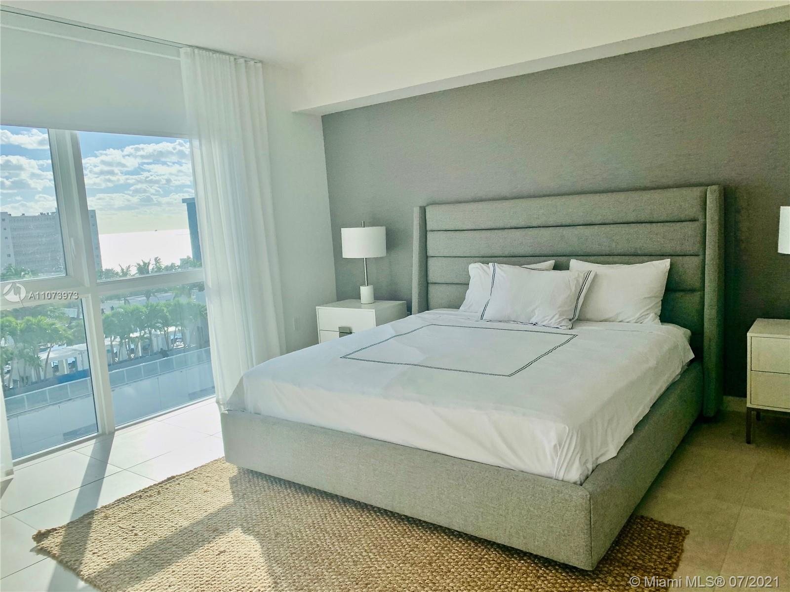 Spectacular corner 2 bedroom high floor residence fully furnished with signature designer package and North East views of Ocean and Intracoastal.