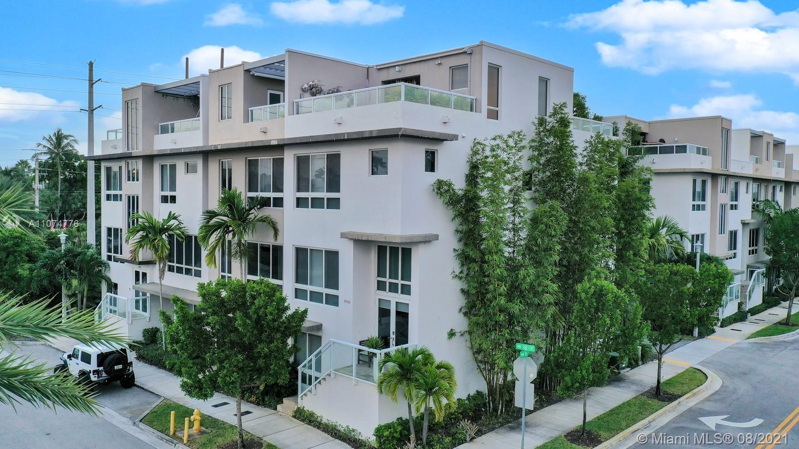 Model home corner unit 3 level with terrace, elevator, semi furniture, excellent location, 3 full bedrooms, 3 full baths, and 2 1.2 baths, Appliances SS, quartz countertop, wood cabinets, Included BB-Q en great view from a terrace. Cosmo-chic community gorgeous amenities to family enjoy.